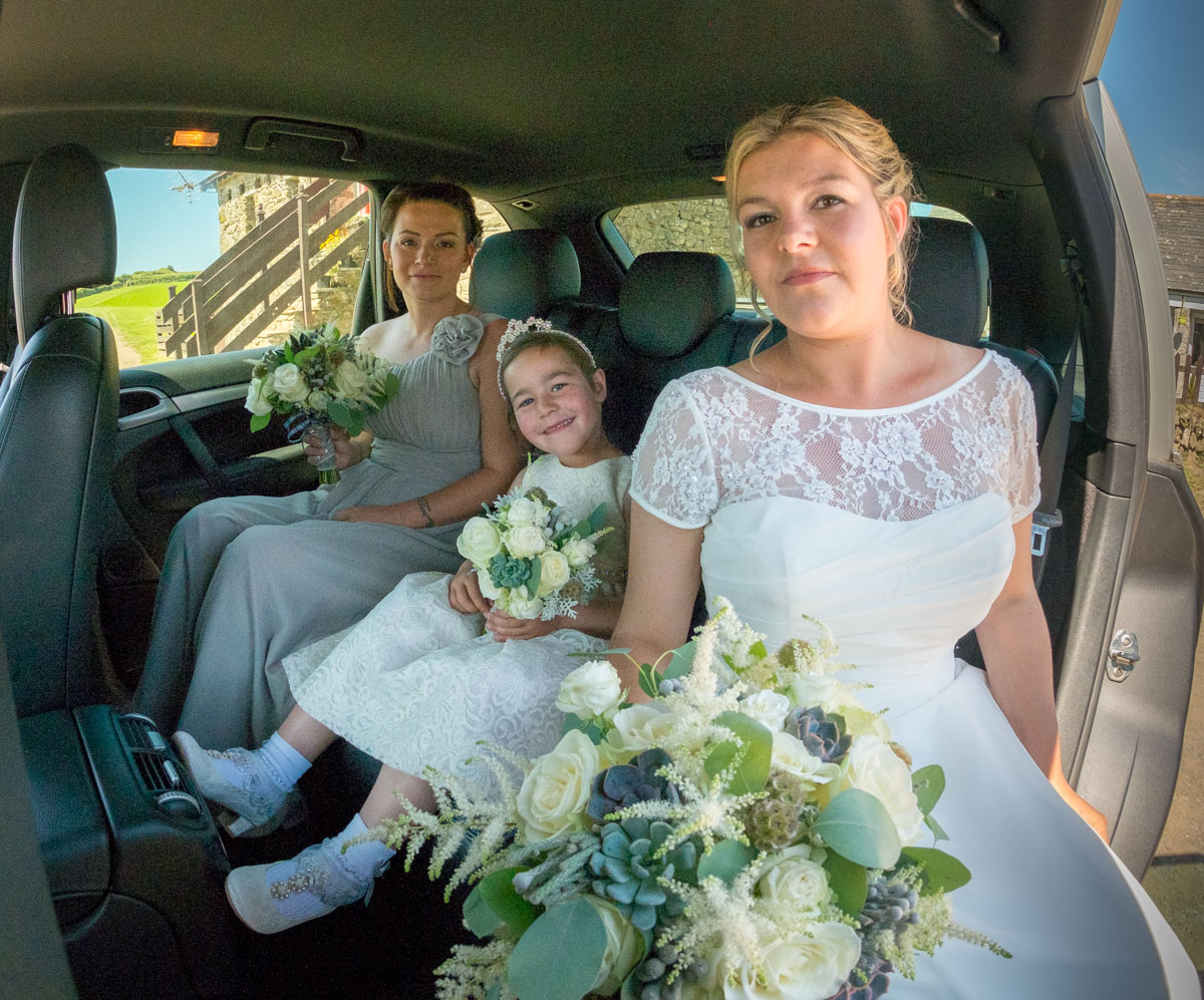 wedding party in car
