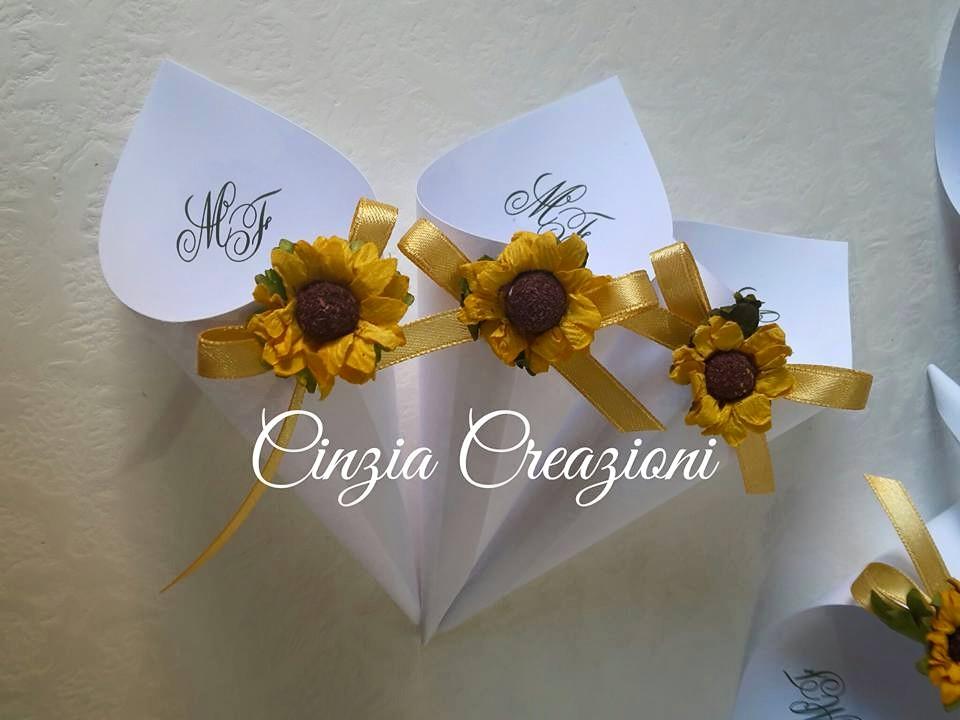 Partecipazioni Matrimonio Con Girasoli : Coni riso matrimonio girasole fiore