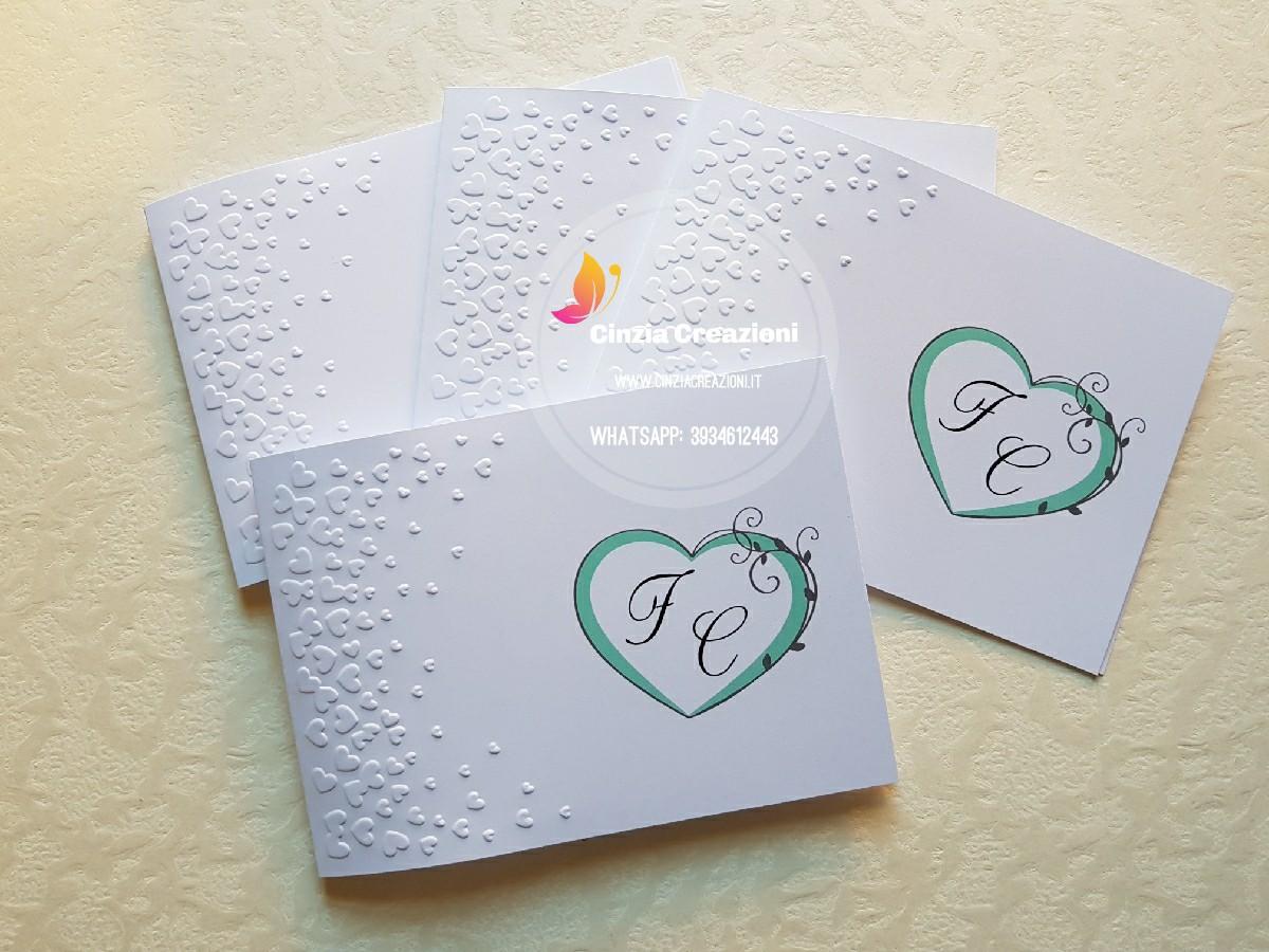 Partecipazioni Cuore con Iniziali Sposi