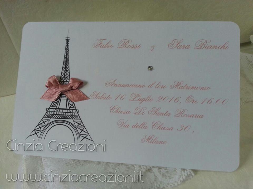 abbastanza Partecipazione Matrimonio Parigi Torre Eiffel KE72