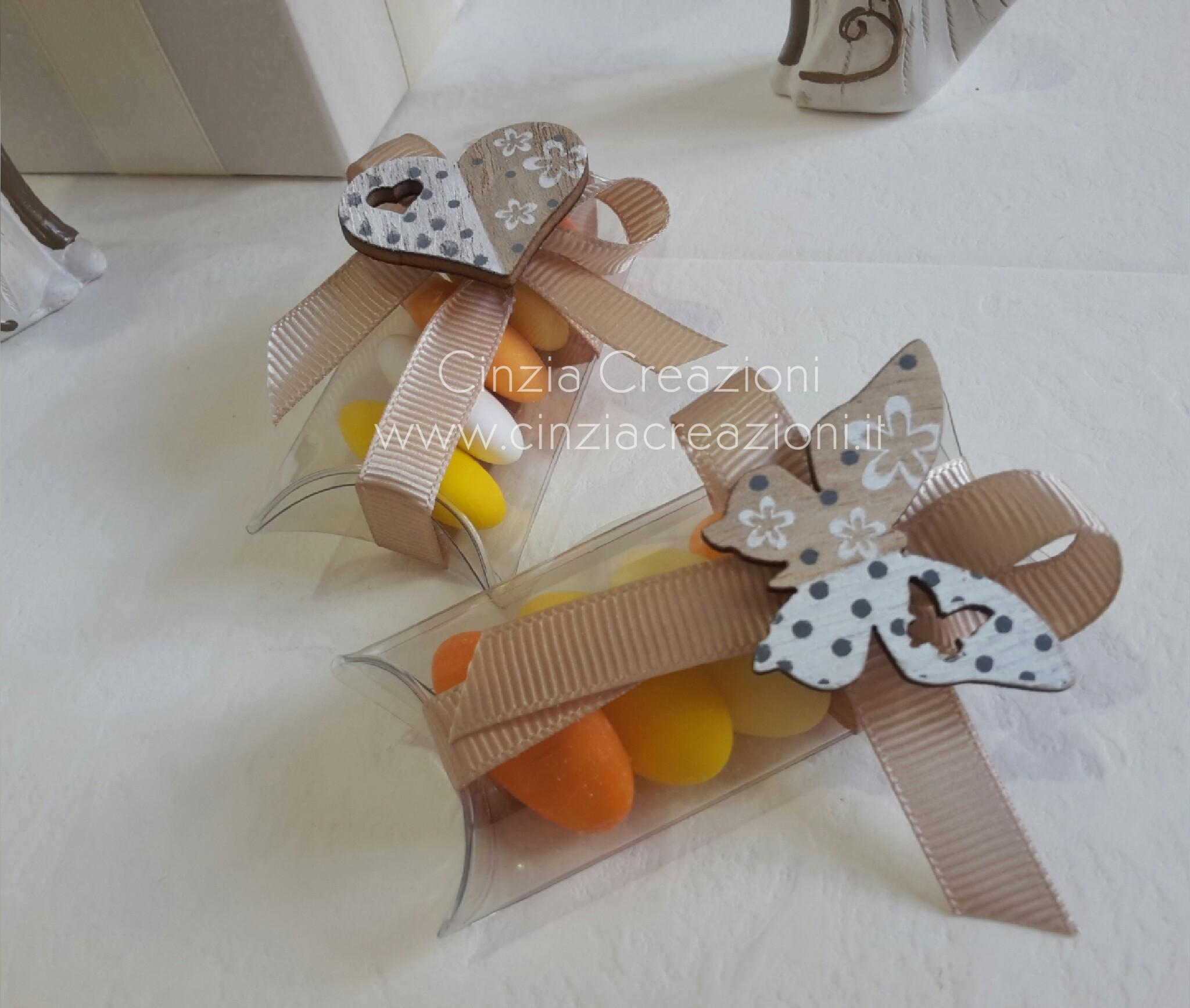 Scatola Portaconfetti con Farfalla o Cuore di Legno