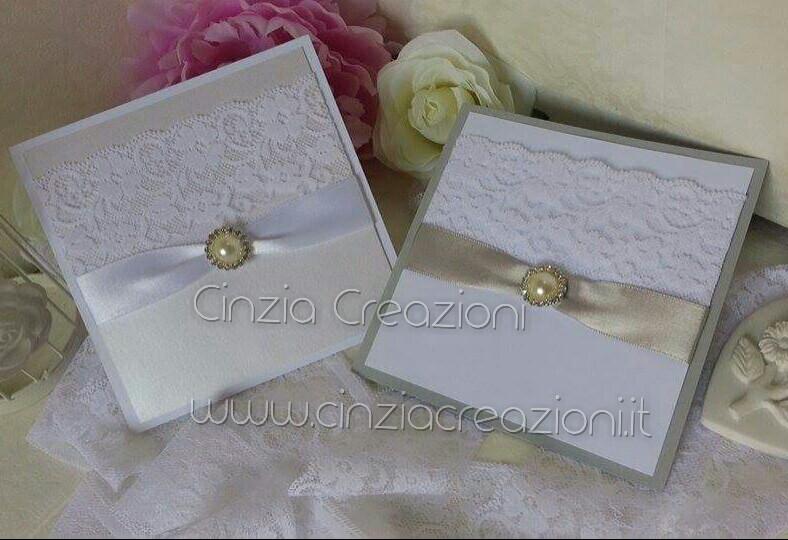 Famoso Invito Nozze in Cartoncino perlato con pizzo e perla DV84