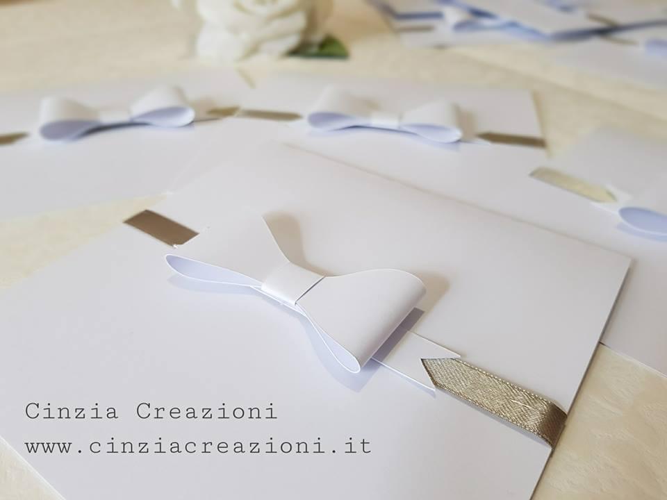 Partecipazione Matrimonio Fiocco Carta 58