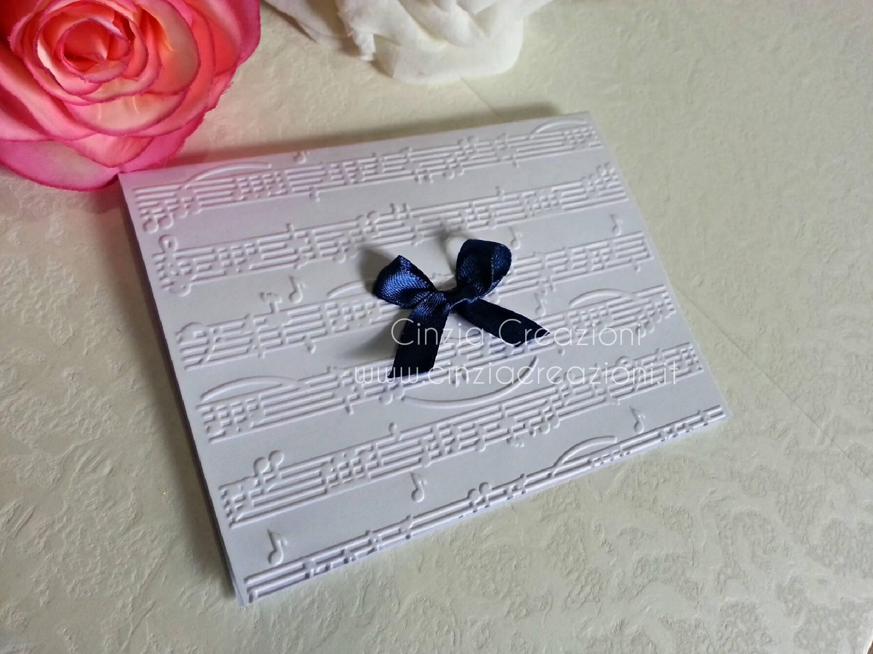 Matrimonio Tema Musica : Invito nozze tema musica con rilievo pentagramma economica