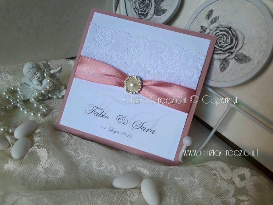Matrimonio In Rosa : Partecipazioni matrimonio con pizzo perla e strass