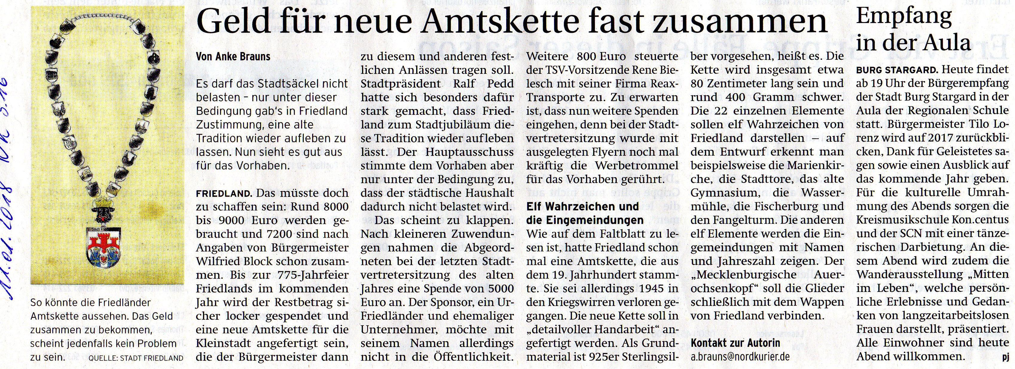 Bürgermeisterkette Friedland MecklenburgVorpommern