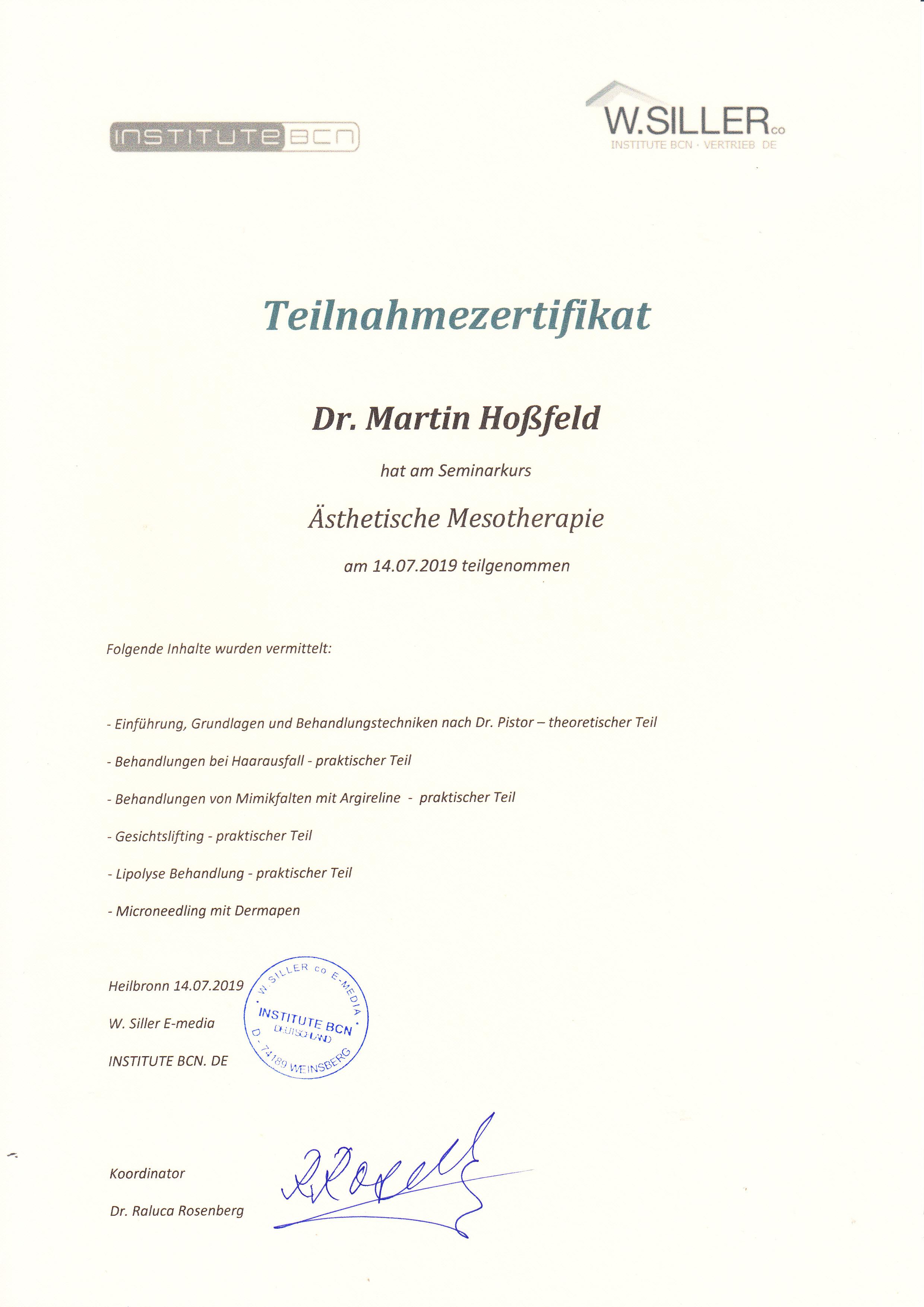 Fortbildung Mesotherapie Institute BCN Heilbronn