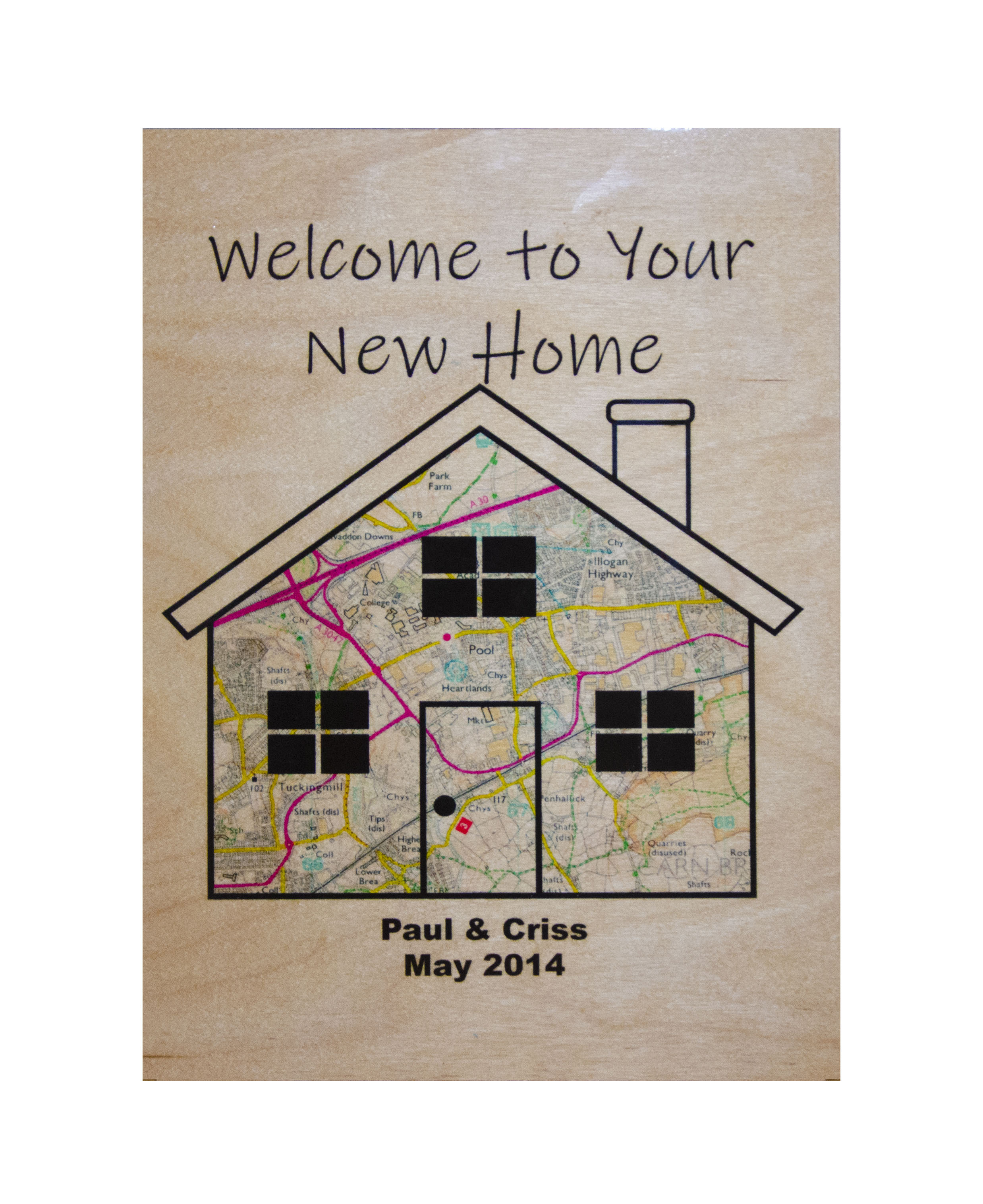 Personalised Wooden 'Welcome To Your New Home' A4 Wall Plaque.