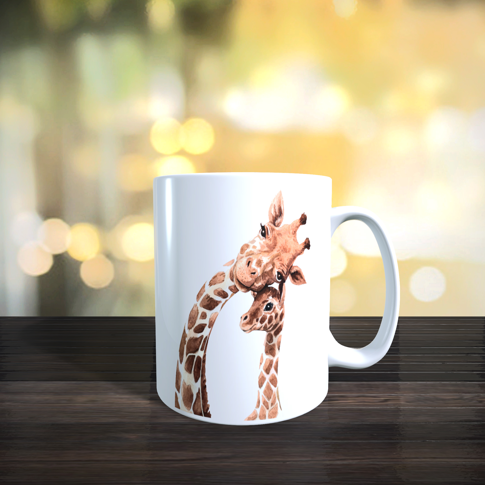 Cute Mother and Baby Giraffe 11oz Ceramic Mothers Day / Birthday Gift Mug.
