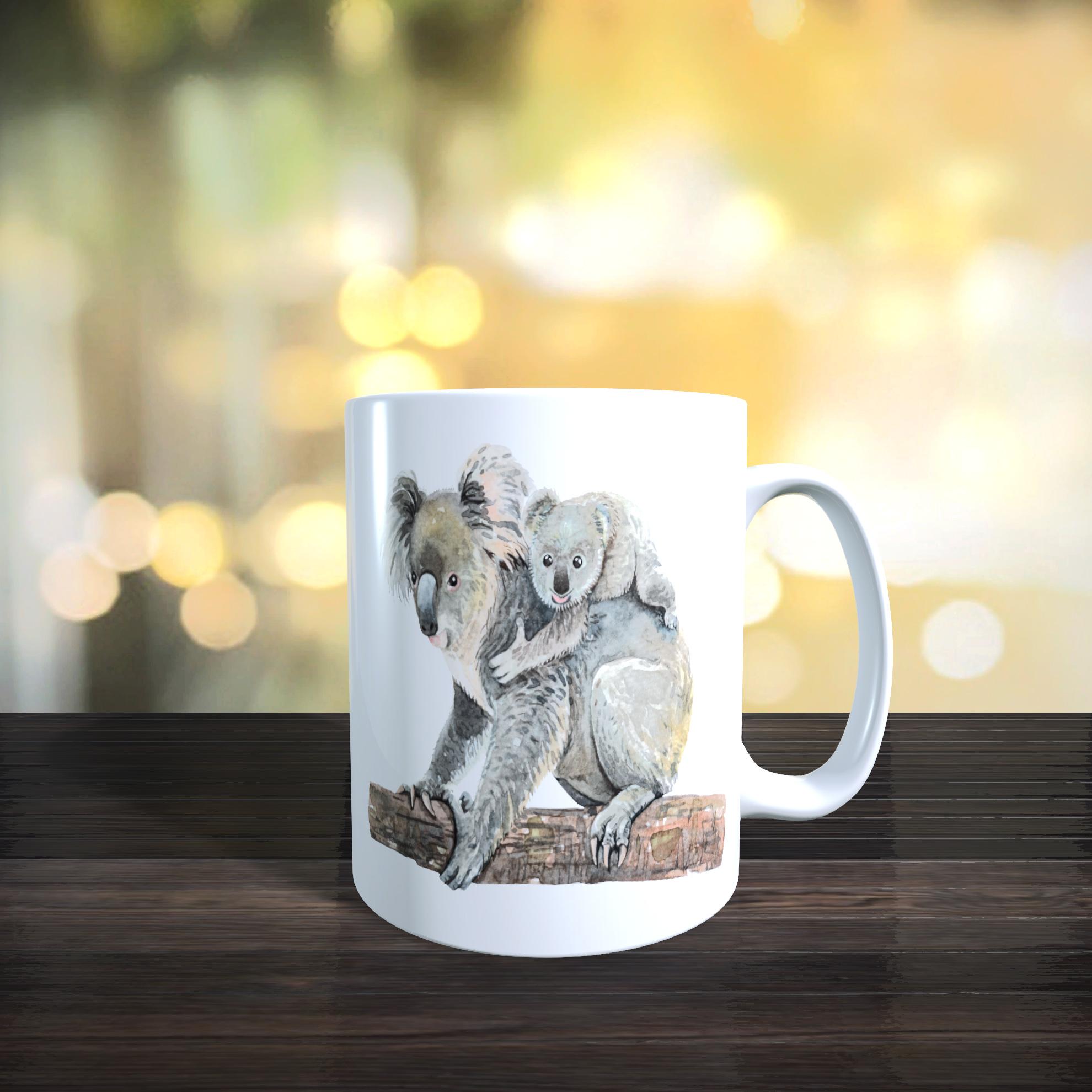 Cute Mother and Baby Koala Bear 11oz Ceramic Mothers Day / Birthday Gift Mug.