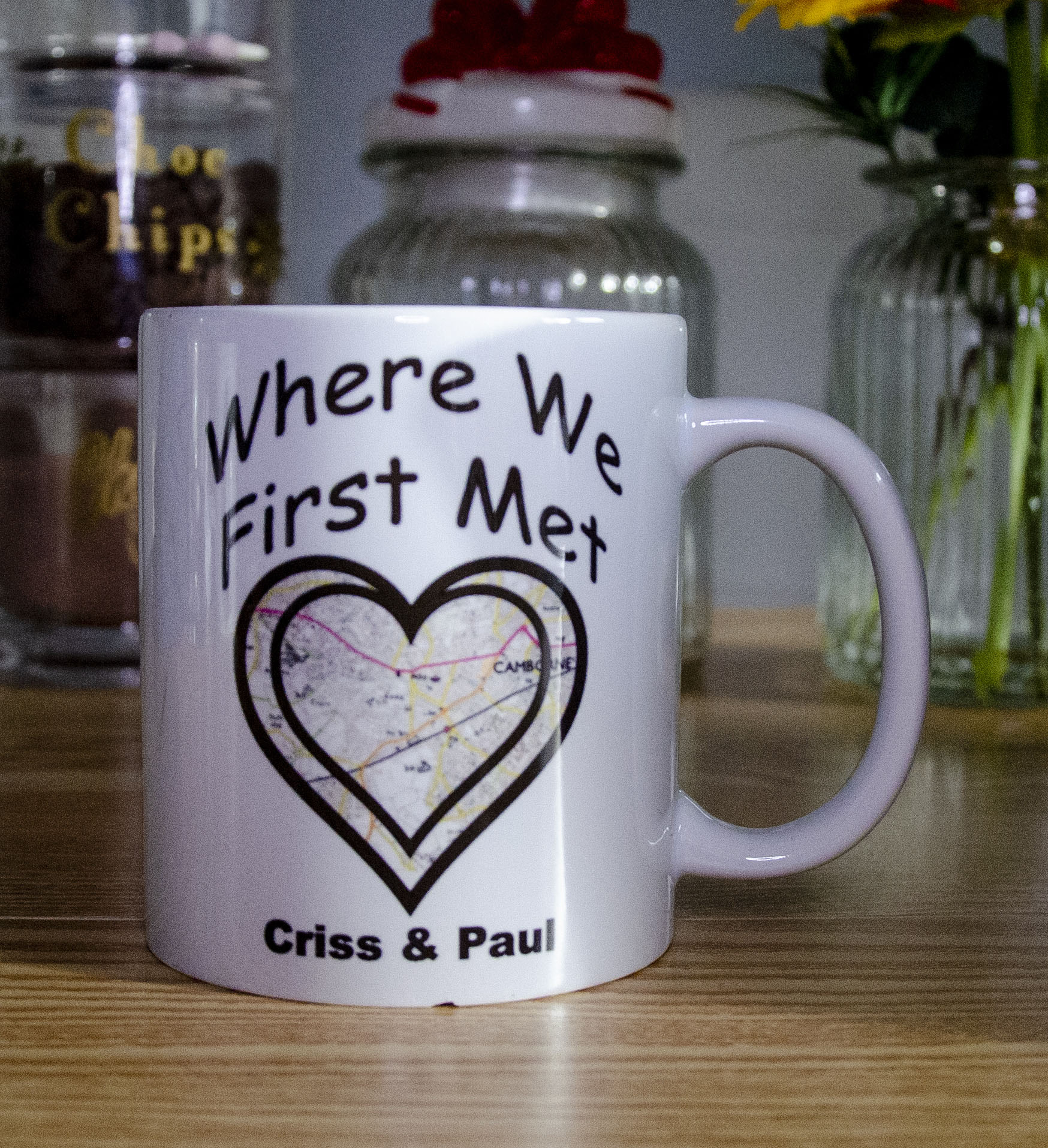 Personalised Valentine / Anniversary Mug 'Where We First Met' Contains Map or Image of where you first met