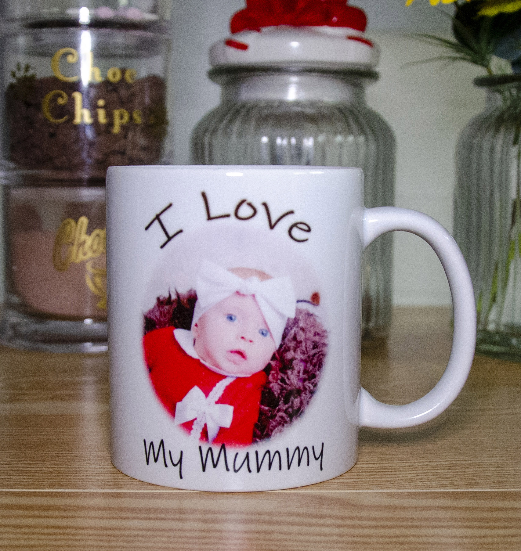Personalised Unique Photographic 11oz Ceramic Mug Contains Your Own Image and Personalised Text