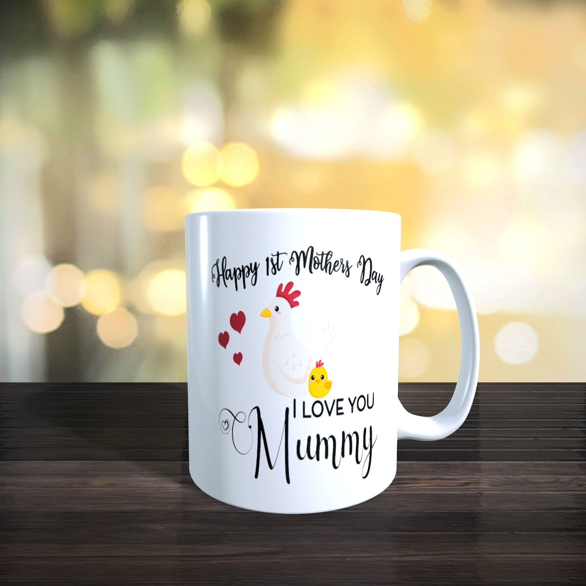 Cute Mother and Baby Chicken 11oz Ceramic First Mothers Day Gift Mug.