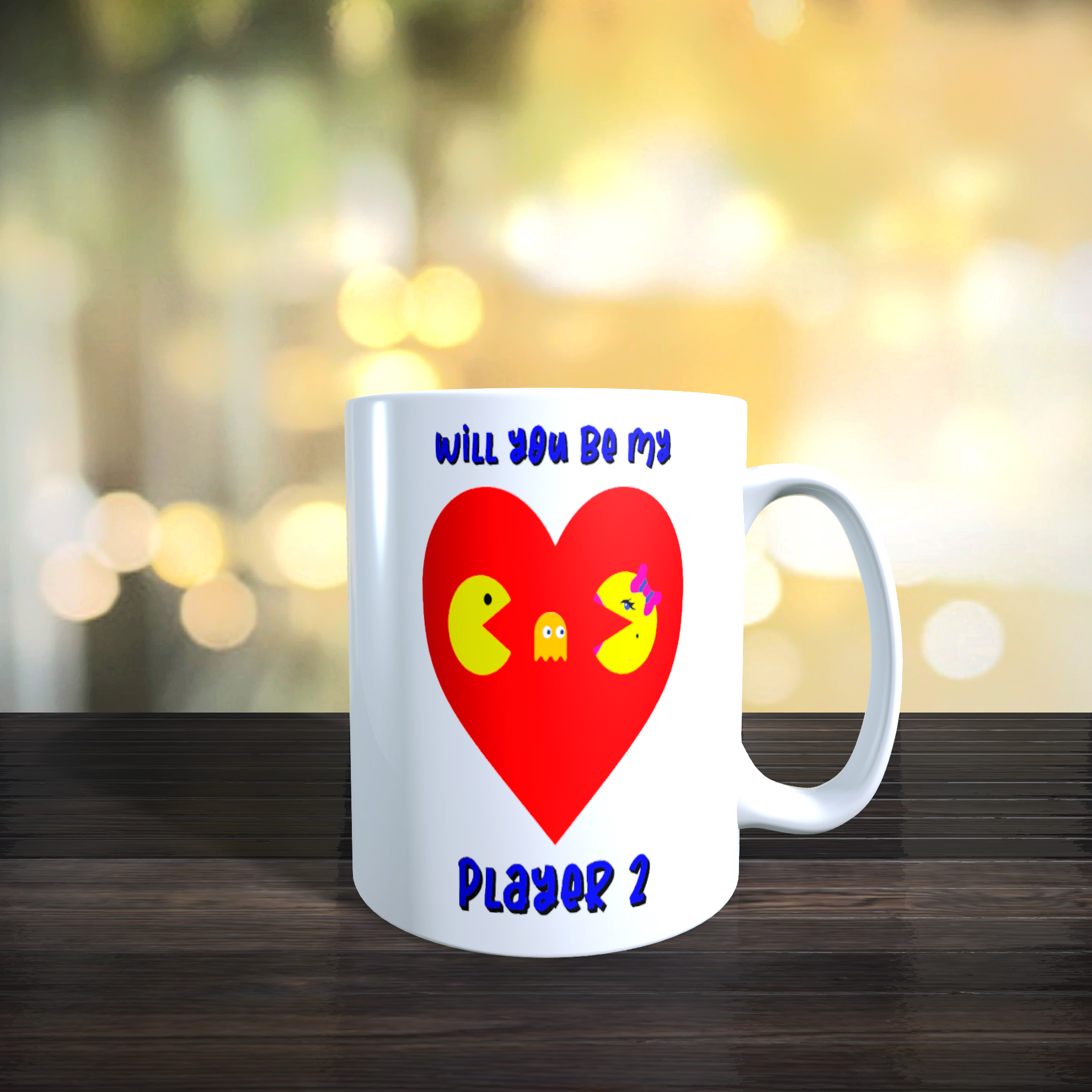 Pac Man 'Will You Be My Player 2' 11oz Ceramic Mug