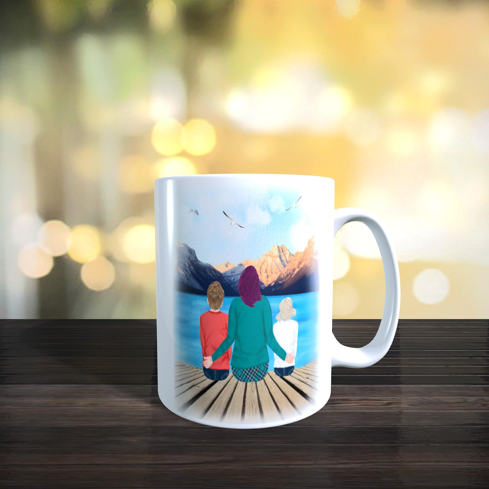 11oz Ceramic Mothers Day / Birthday Mug. Mother With Children