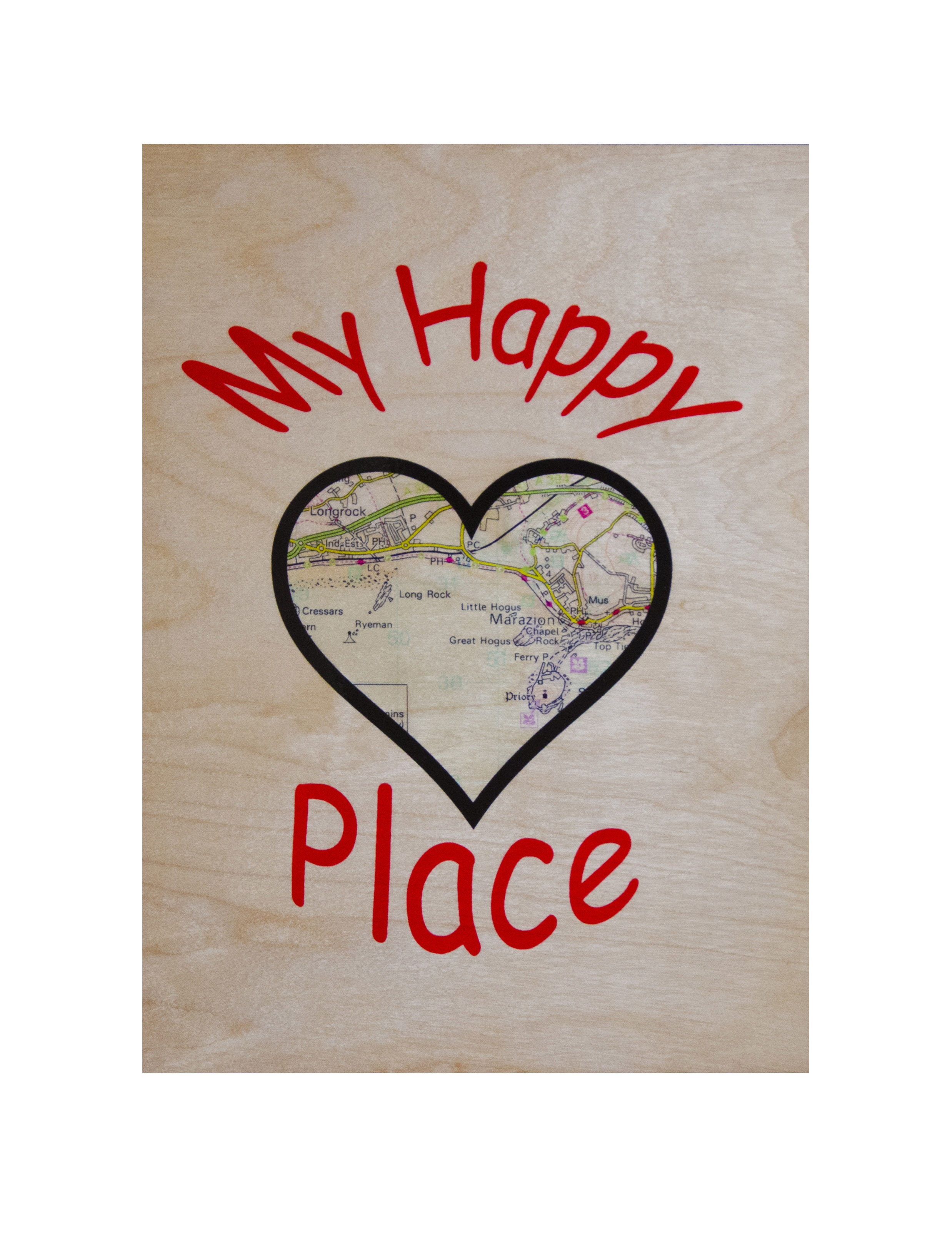 Personalised Wooden 'Happy Place' A4 Wall Plaque.