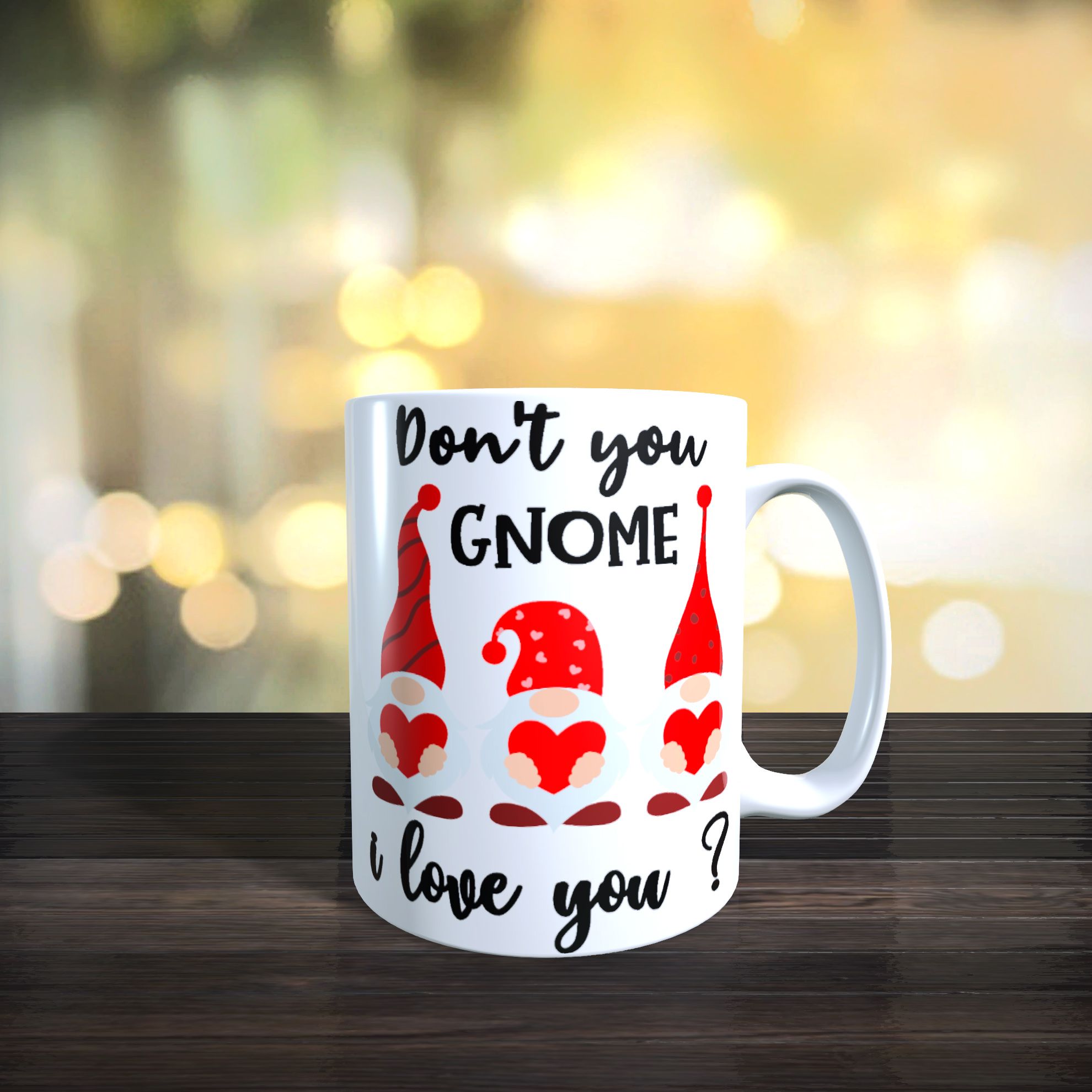 11oz Ceramic 'Don't You Gnome I Love You?' Gnome / Gonk Mug