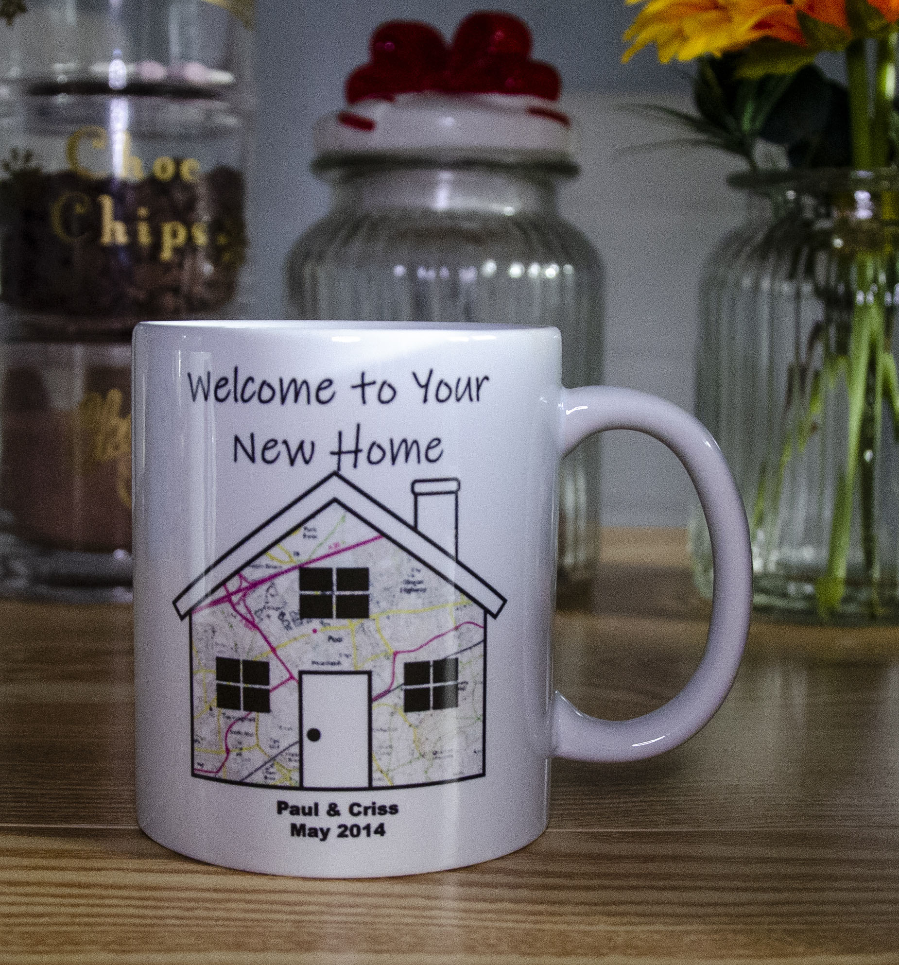 Personalised Housewarming Mug 'Welcome to your new home' Contains Map of the area around the property
