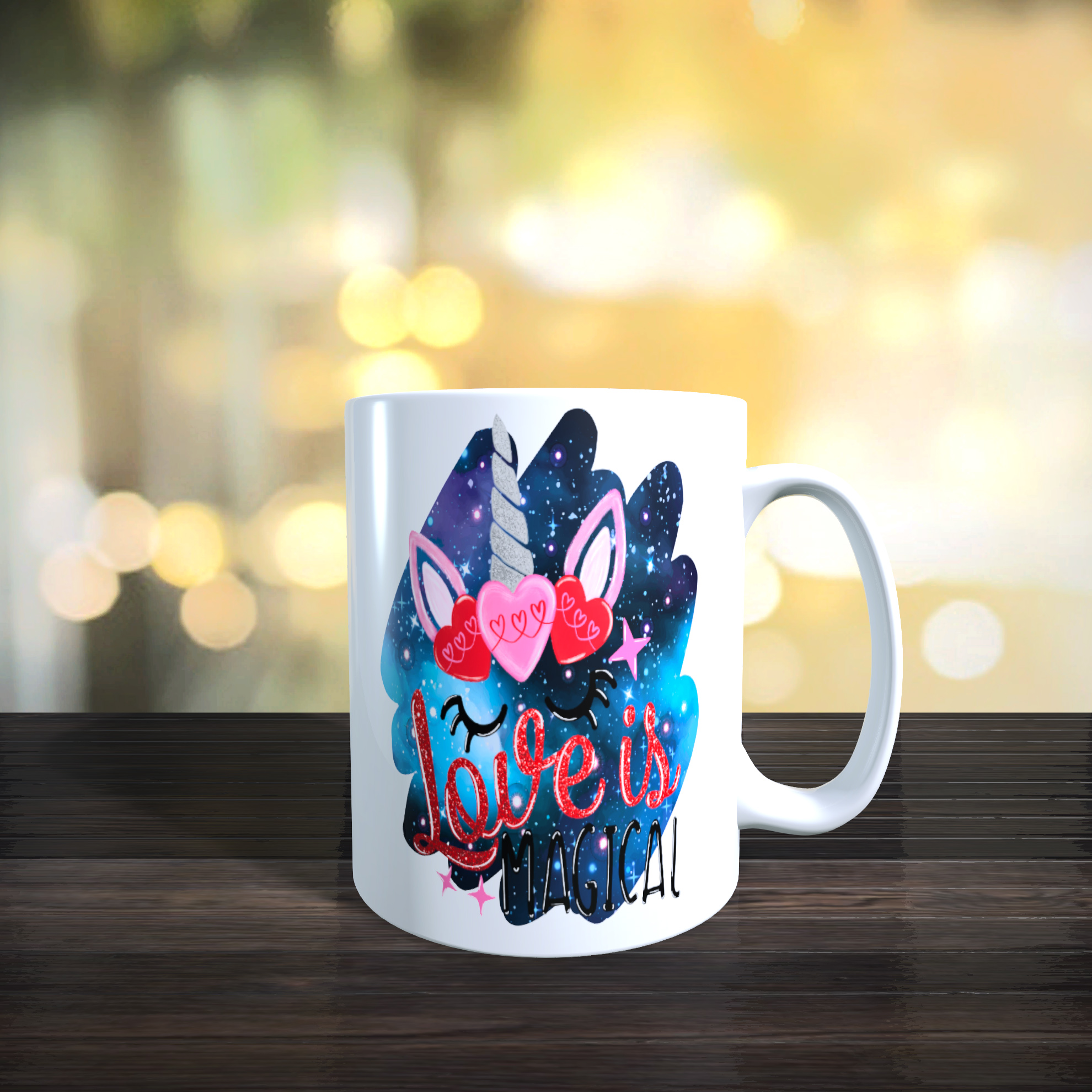 Colourful Valentine / Anniversary Unicorn 11oz Ceramic Mug