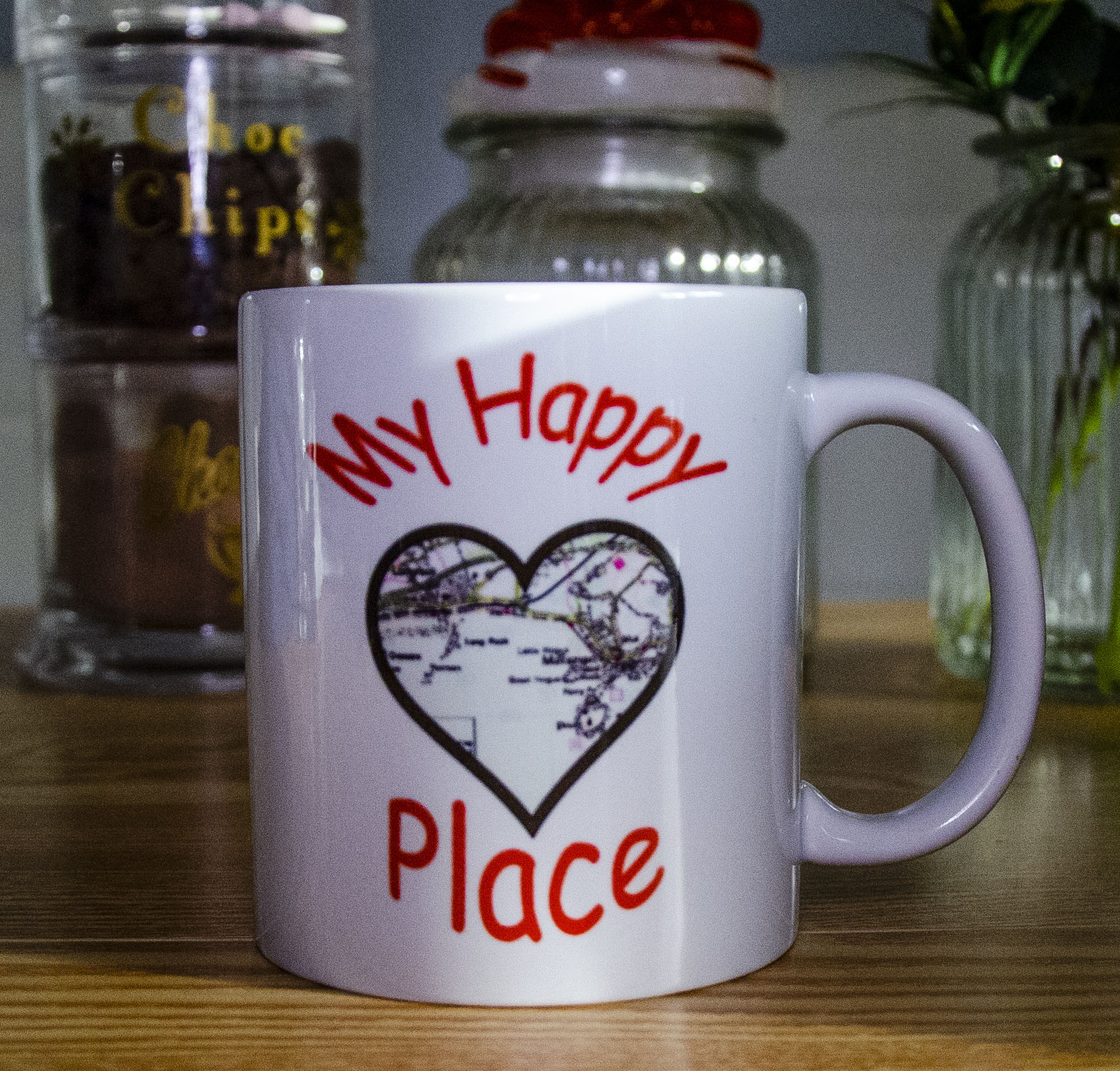 Personalised Unique Mug 'My Happy Place' Contains Map or image of the area surrounding the recipients happy place