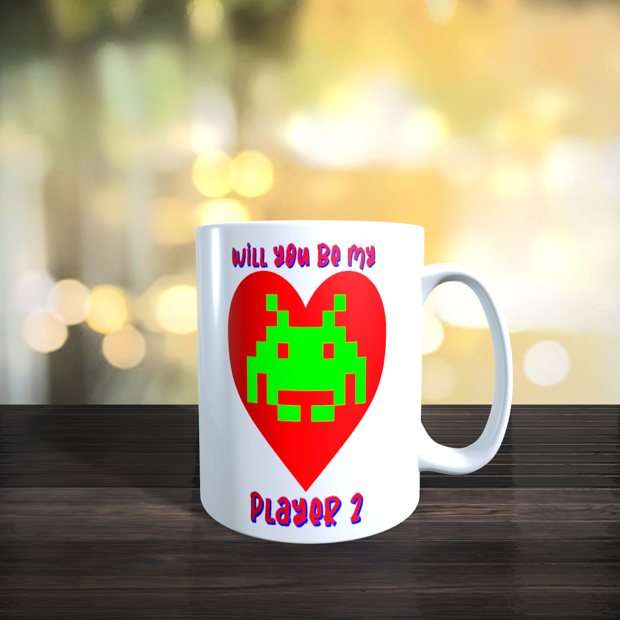 Space Invaders 'Will You Be My Player 2' 11oz Ceramic Mug