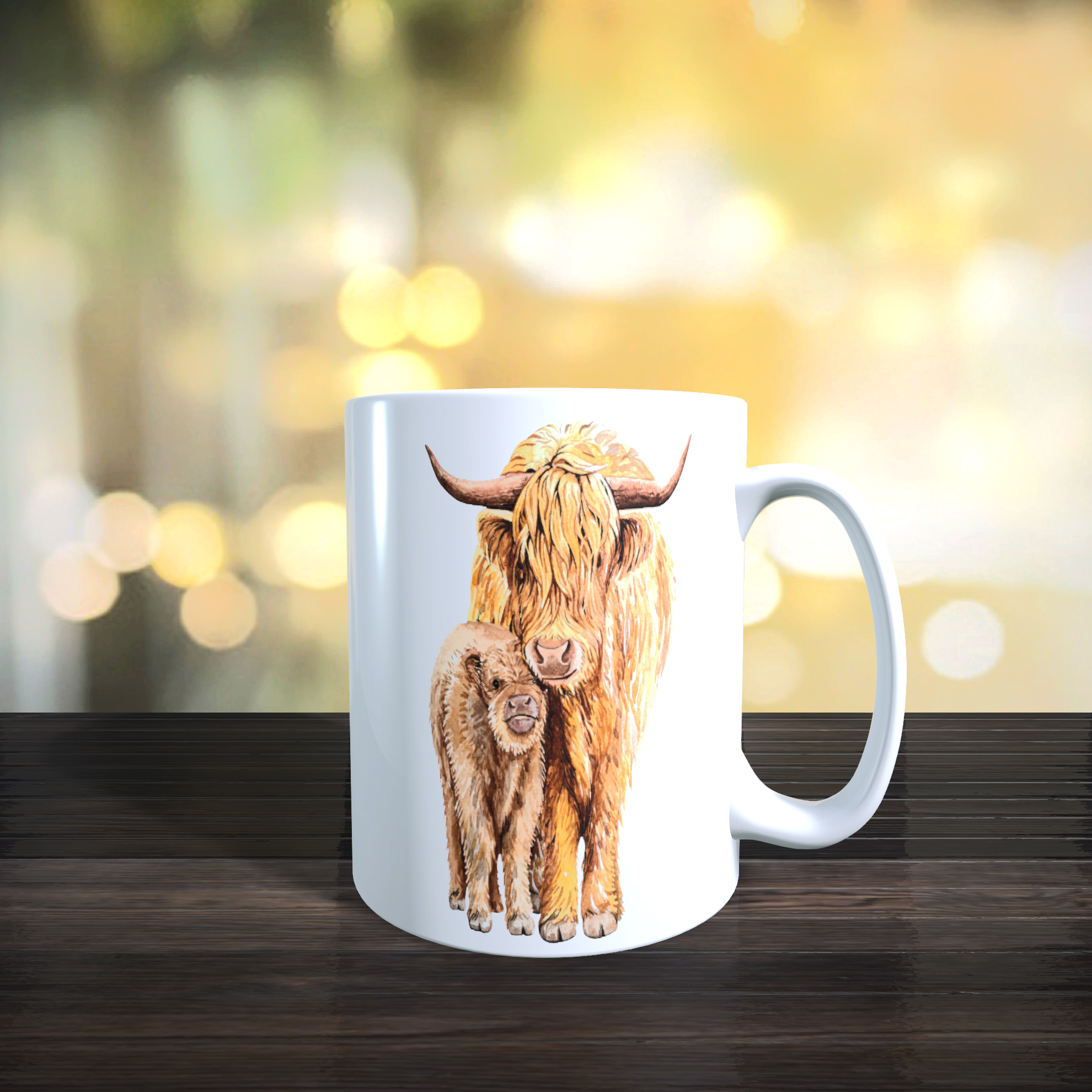 Cute Mother and Baby Yak 11oz Ceramic Mothers Day / Birthday Gift Mug.