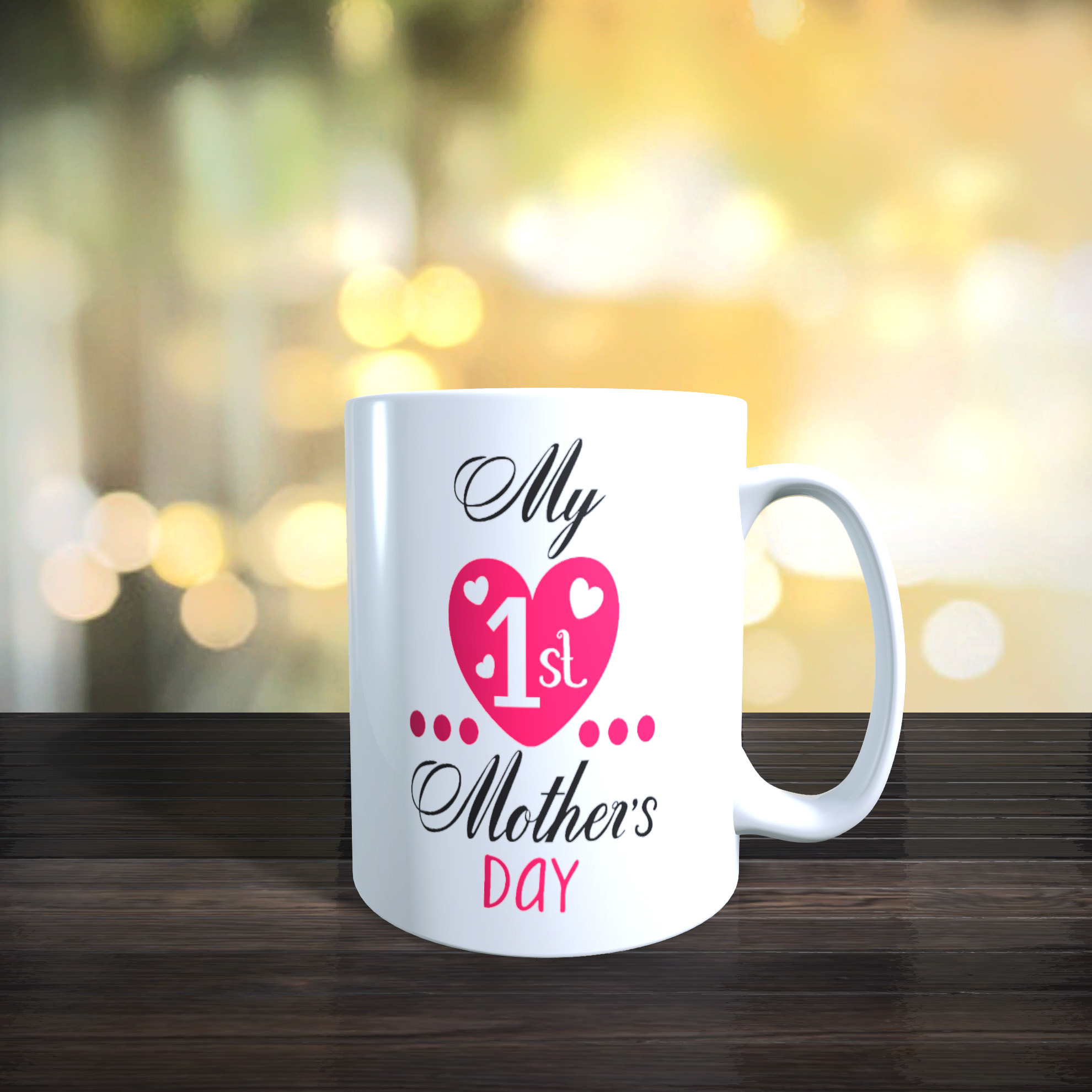 Cute Baby's First Mothers Day 11oz Ceramic First Mothers Day Gift Mug.
