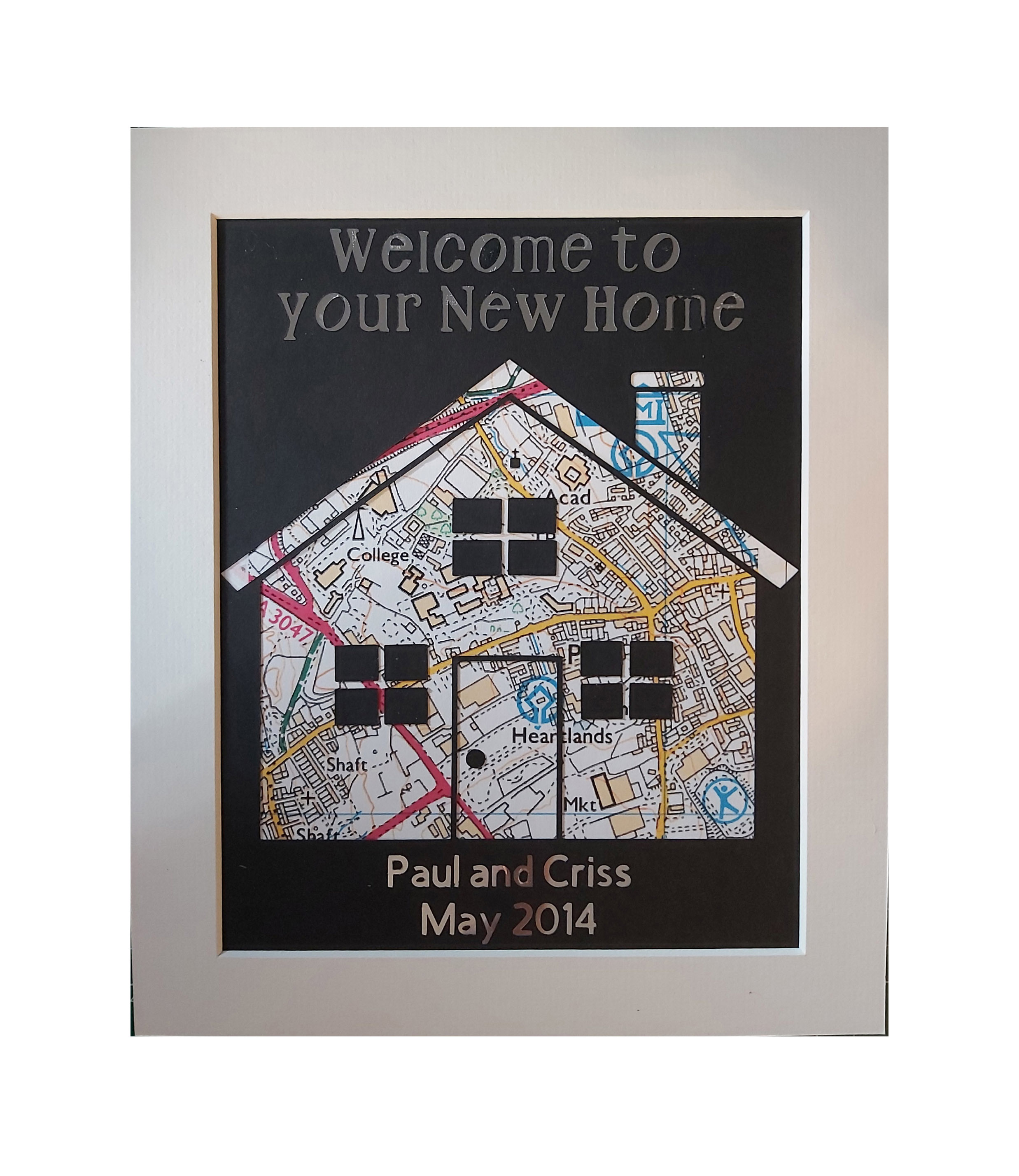 Personalised Map Picture. House warming gift. Welcome to your new home.