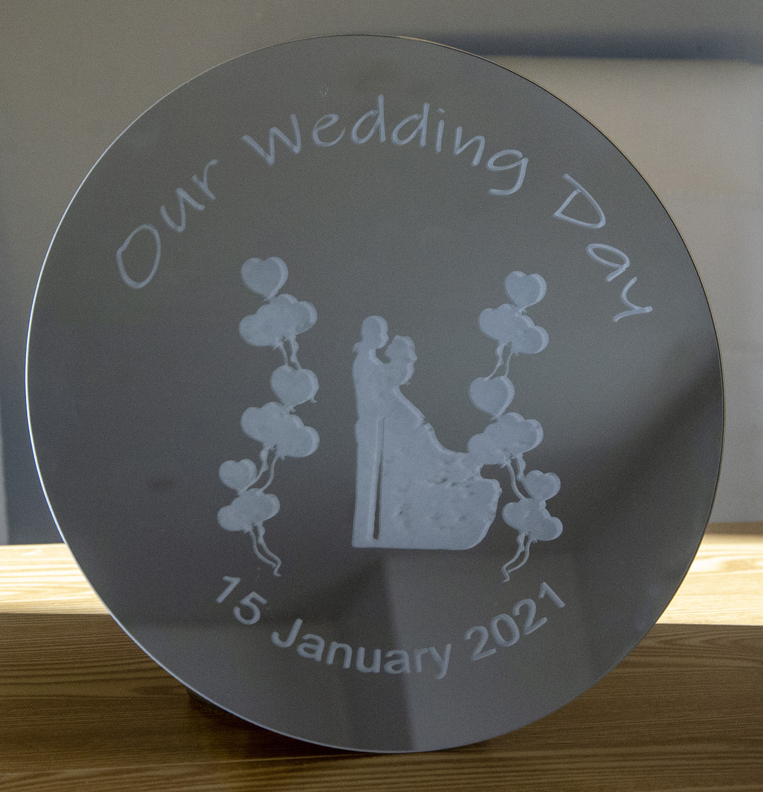 Mirrored Wedding Table Centrepiece or Wall Plaque. 25cm Diameter. Acid etched Glass. Ideal Wedding or Anniversary Gift.
