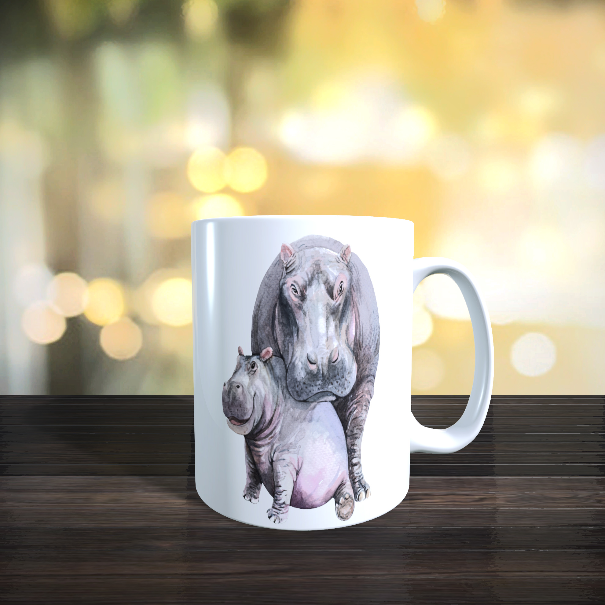 Cute Mother and Baby Hippo 11oz Ceramic Mothers Day / Birthday Gift Mug.