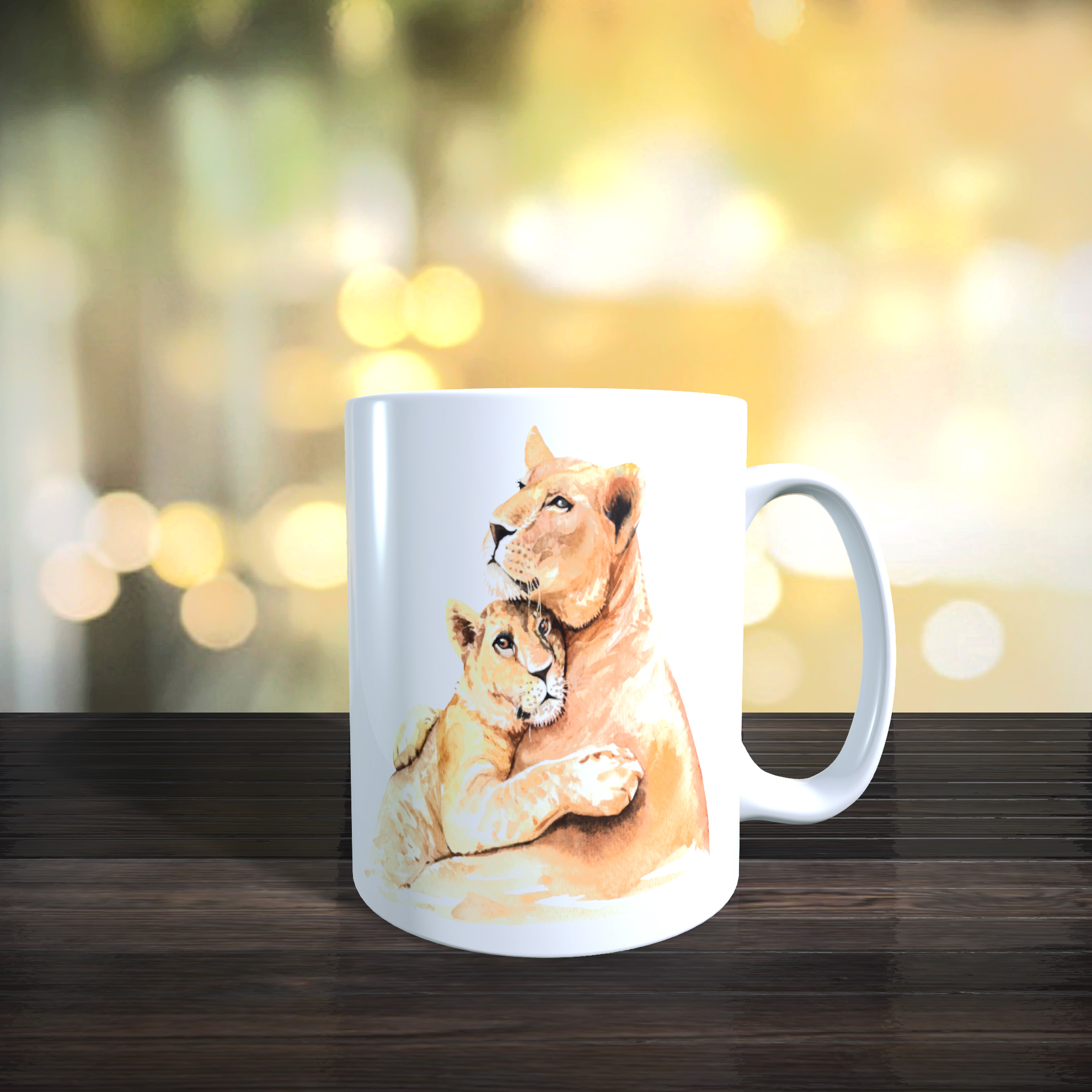 Cute Mother and Baby Lion 11oz Ceramic Mothers Day / Birthday Gift Mug.