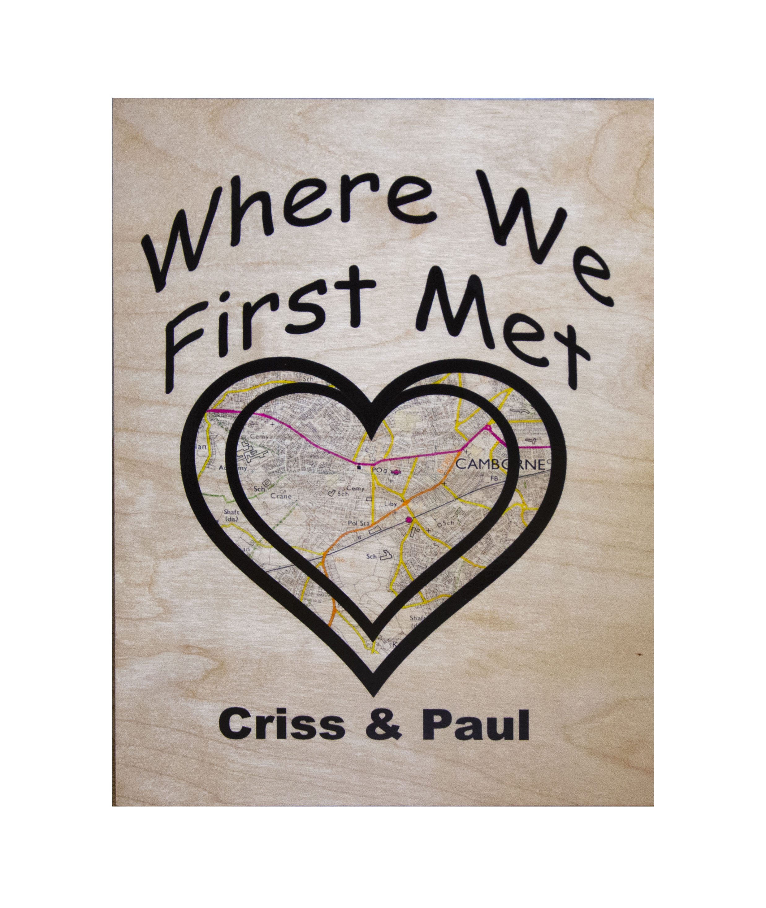 Personalised Wooden 'Where We First Met' A4 Wall Plaque.