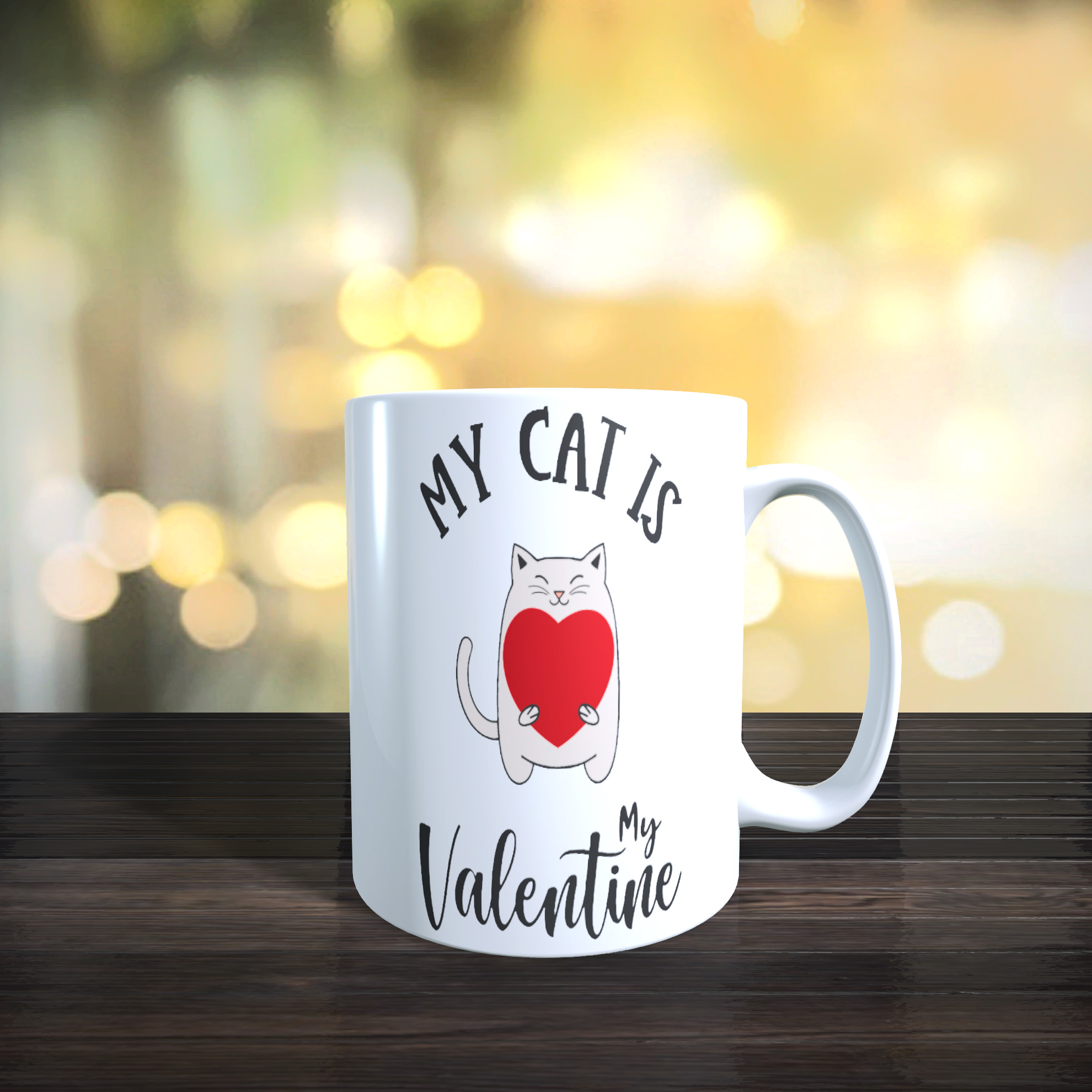 11oz Ceramic My Cat is my Valentine Mug