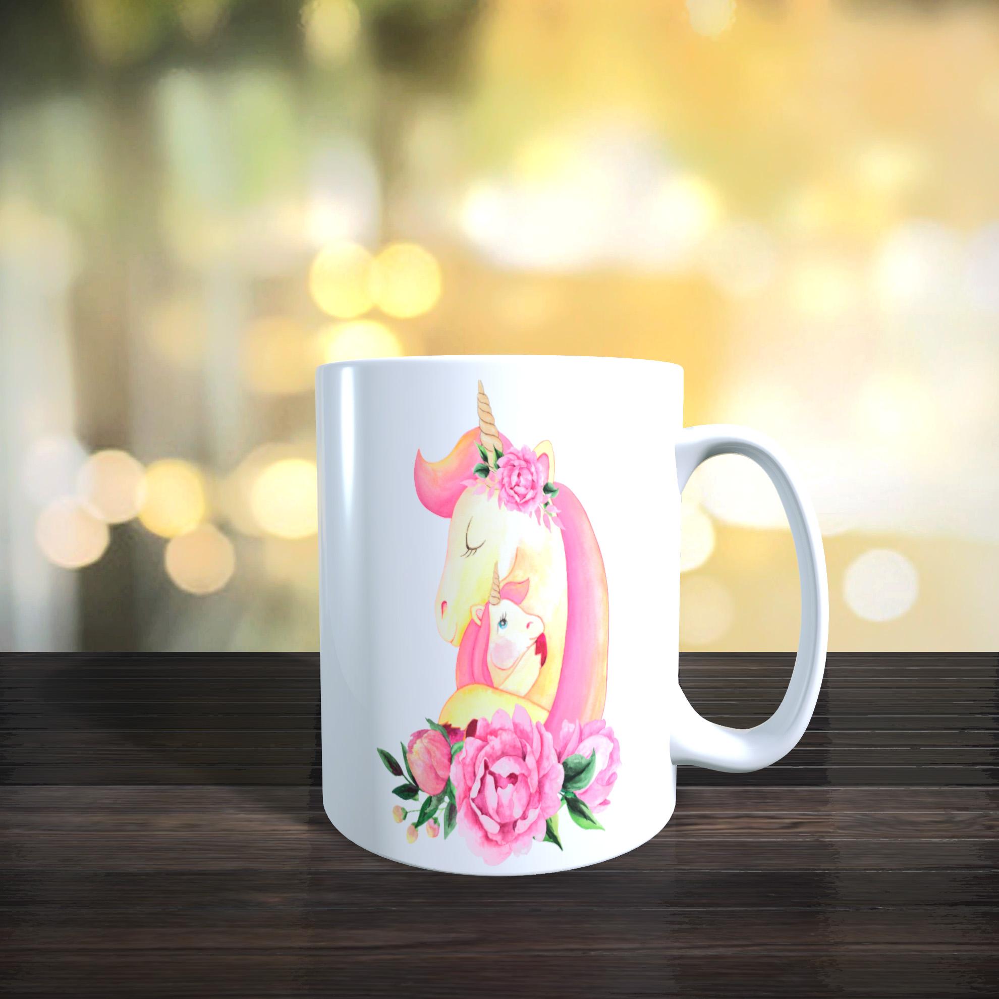 Cute Mother and Baby Unicorn 11oz Ceramic Mothers Day / Birthday Gift Mug.