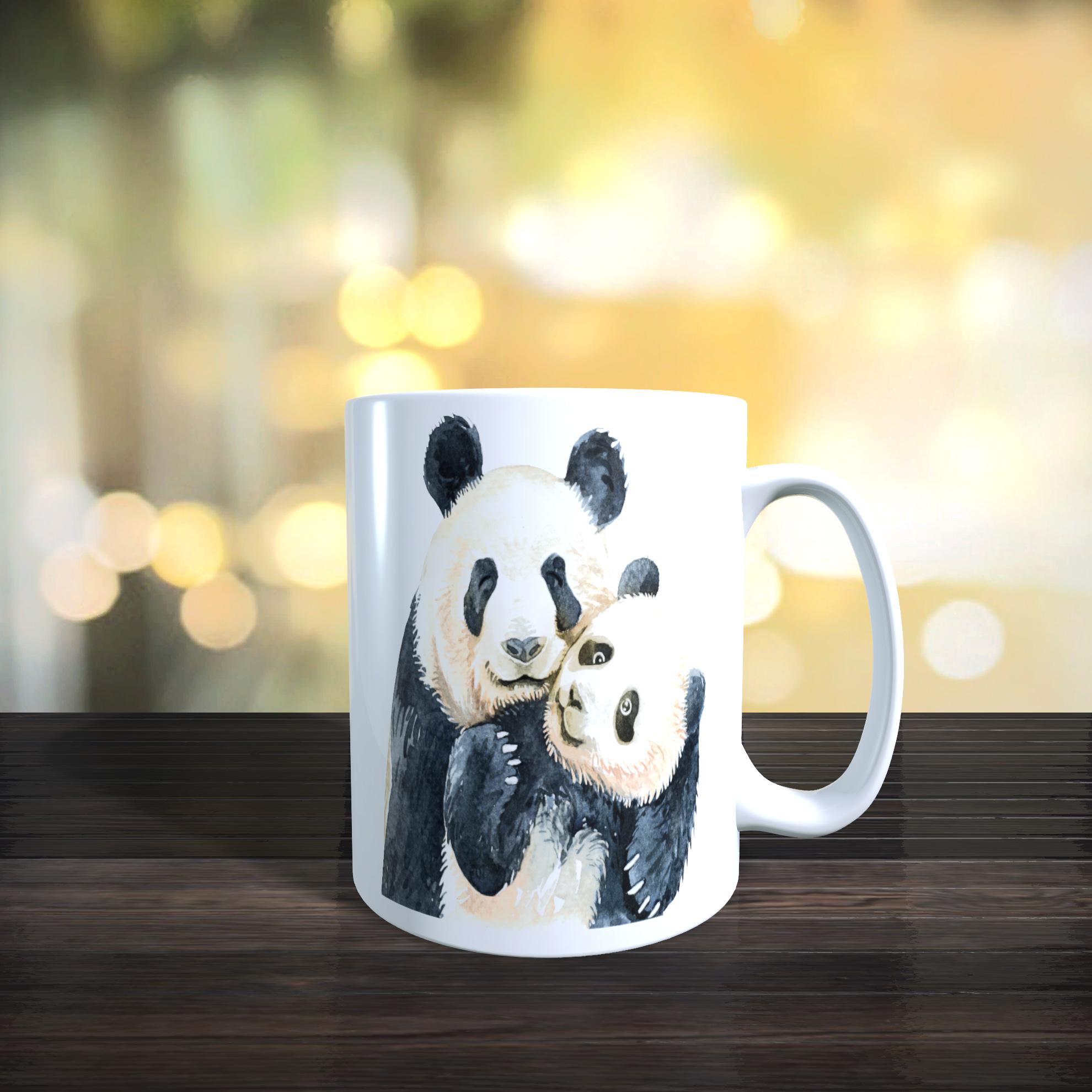 Cute Mother and Baby Panda Bear 11oz Ceramic Mothers Day / Birthday Gift Mug.