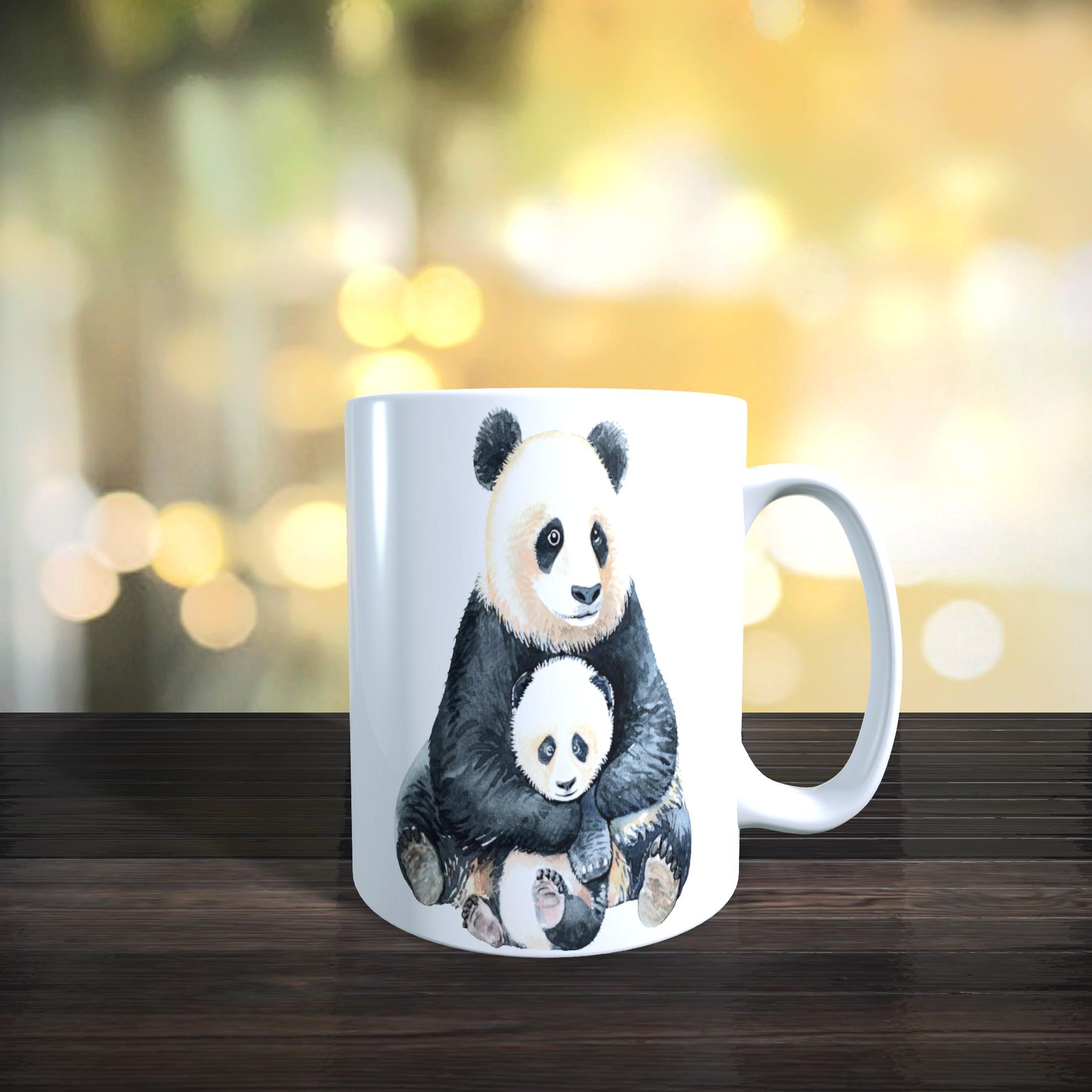 Cute Mother and Baby Panda 11oz Ceramic Mothers Day / Birthday Gift Mug.