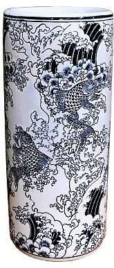 Ceramic Embossed Umbrella Stand Blue//White Koi Design