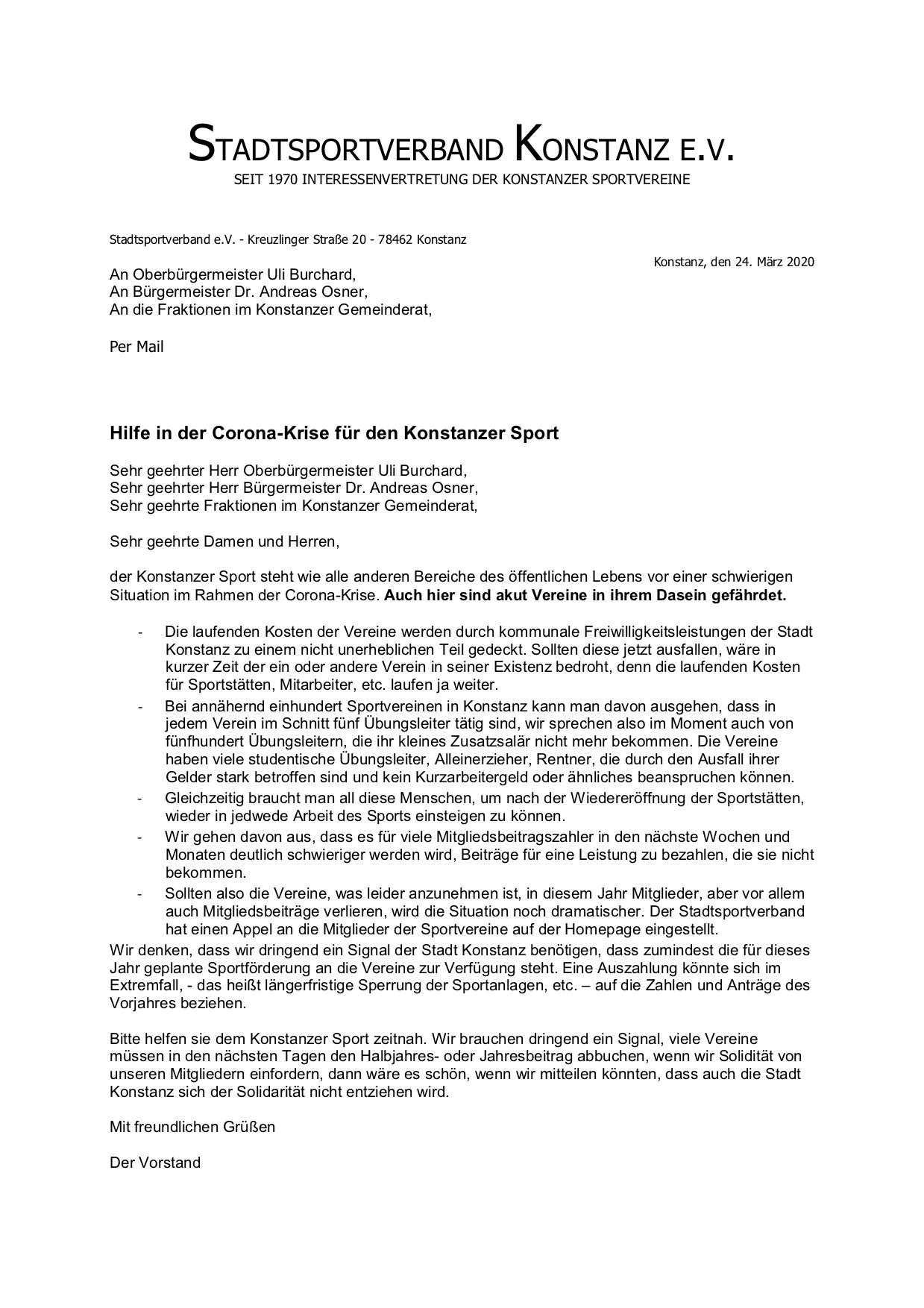 Brief an die Stadt Konstanz