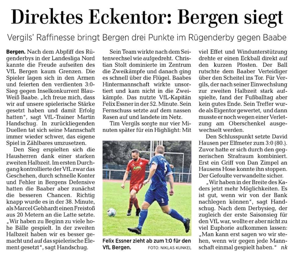 3. Spieltag: VfL Bergen - SV BW 50 Baabe