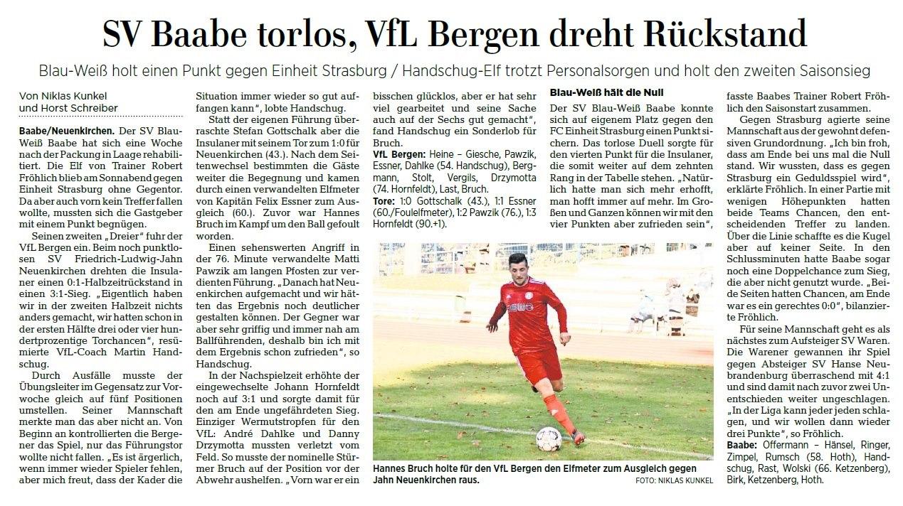 Baabe trennt sich von Strasburg 0:0