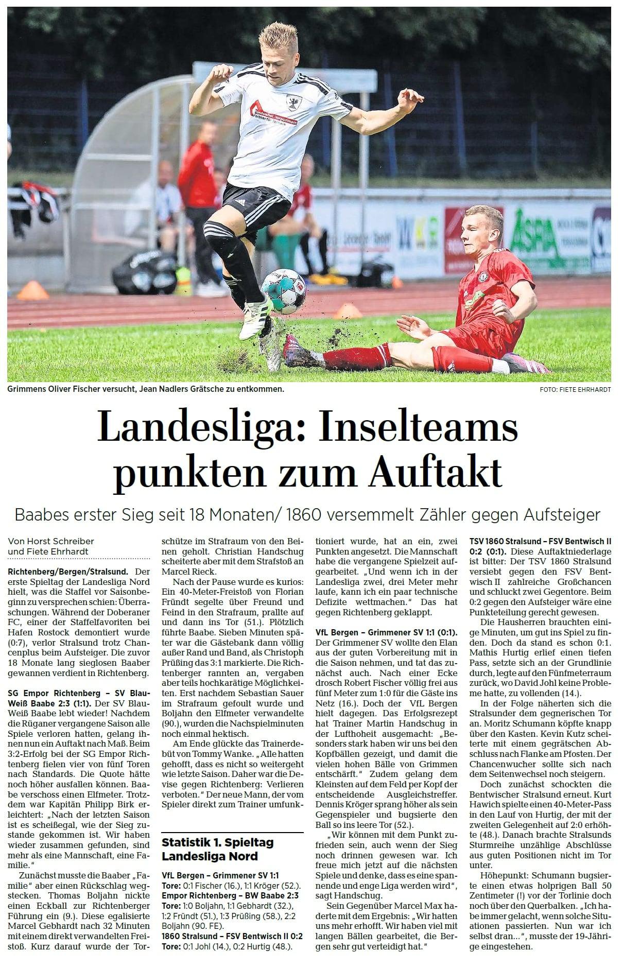 1. Spieltag: SG Empor Richtenberg - SV BW 50 Baabe