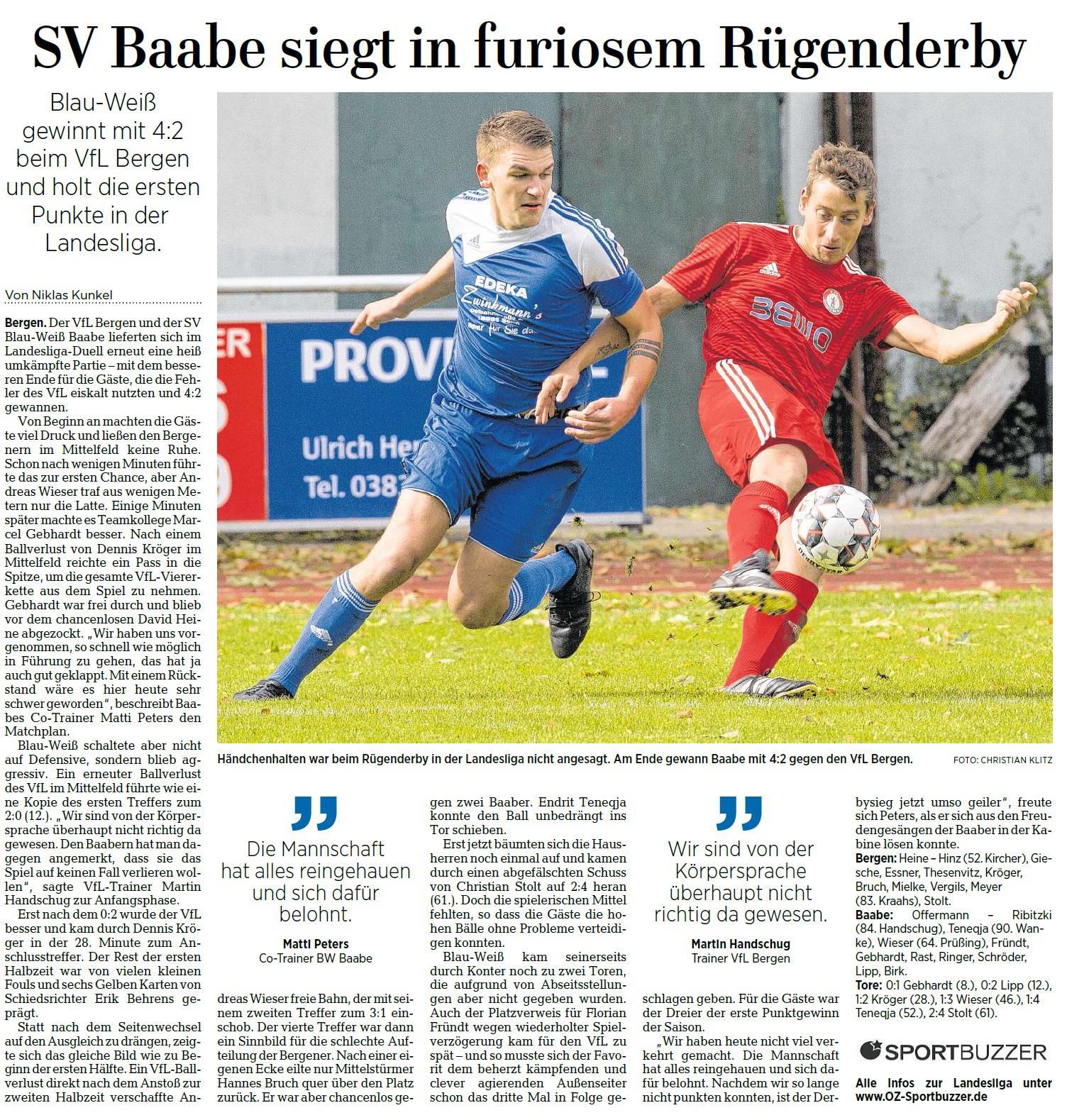 Baabe gewann auch das 3. Rügenderby