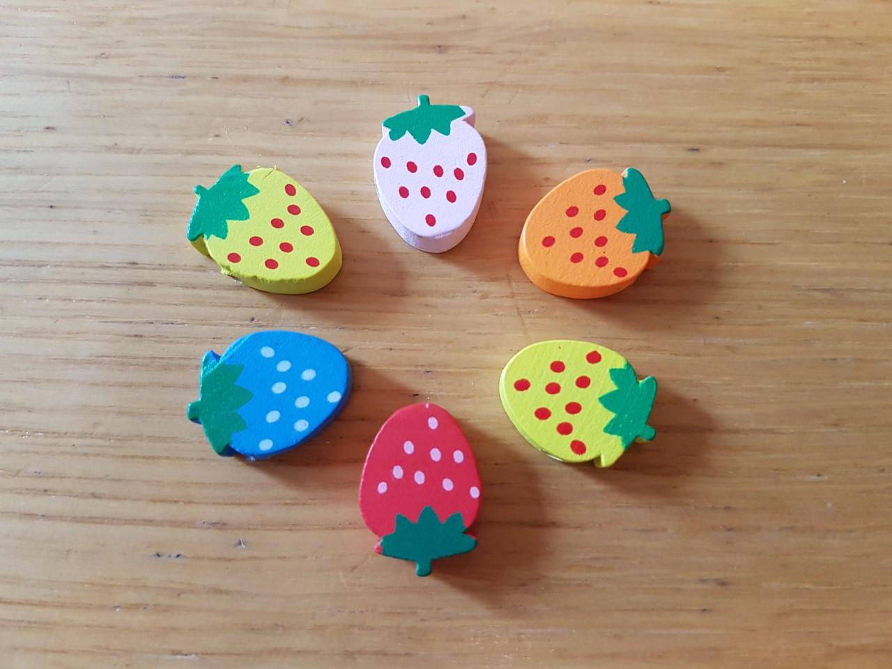 Wooden Shaped Spotty Strawberry