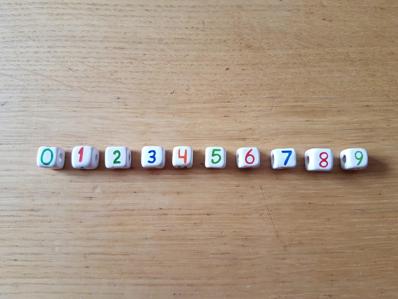 Coloured Ceramic Numbers 0-9
