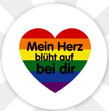 """Button """" Mein Herz blüht auf bei dir """" Stecknadel"""