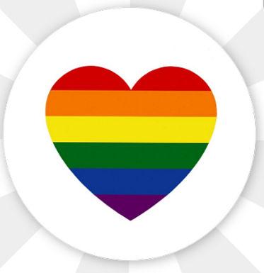 Button Rainbow Herz Stecknadel