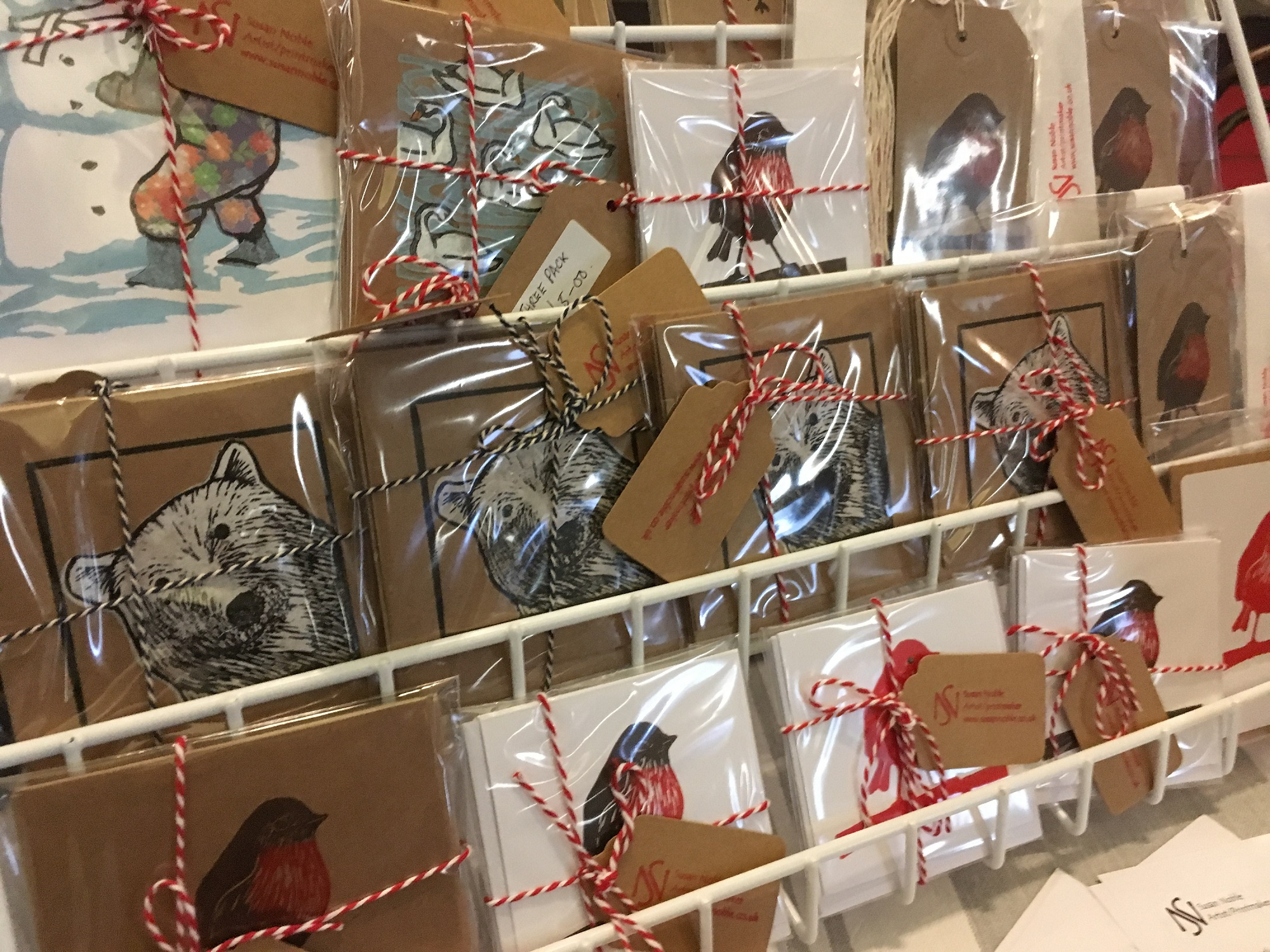 Mix pack of lino-print christmas cards