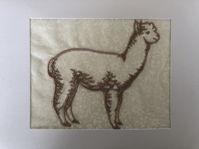 Large gold embroidered silhouette alpaca greeting card