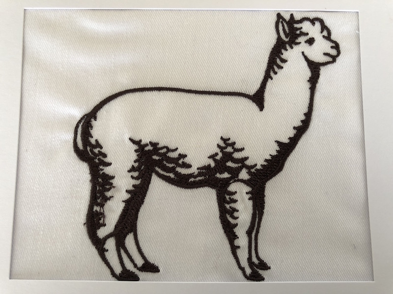 Brown embroidered alpaca greeting card