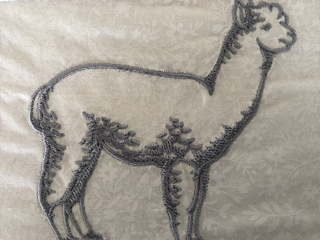 Silver embroidered alpaca silhouette greeting card